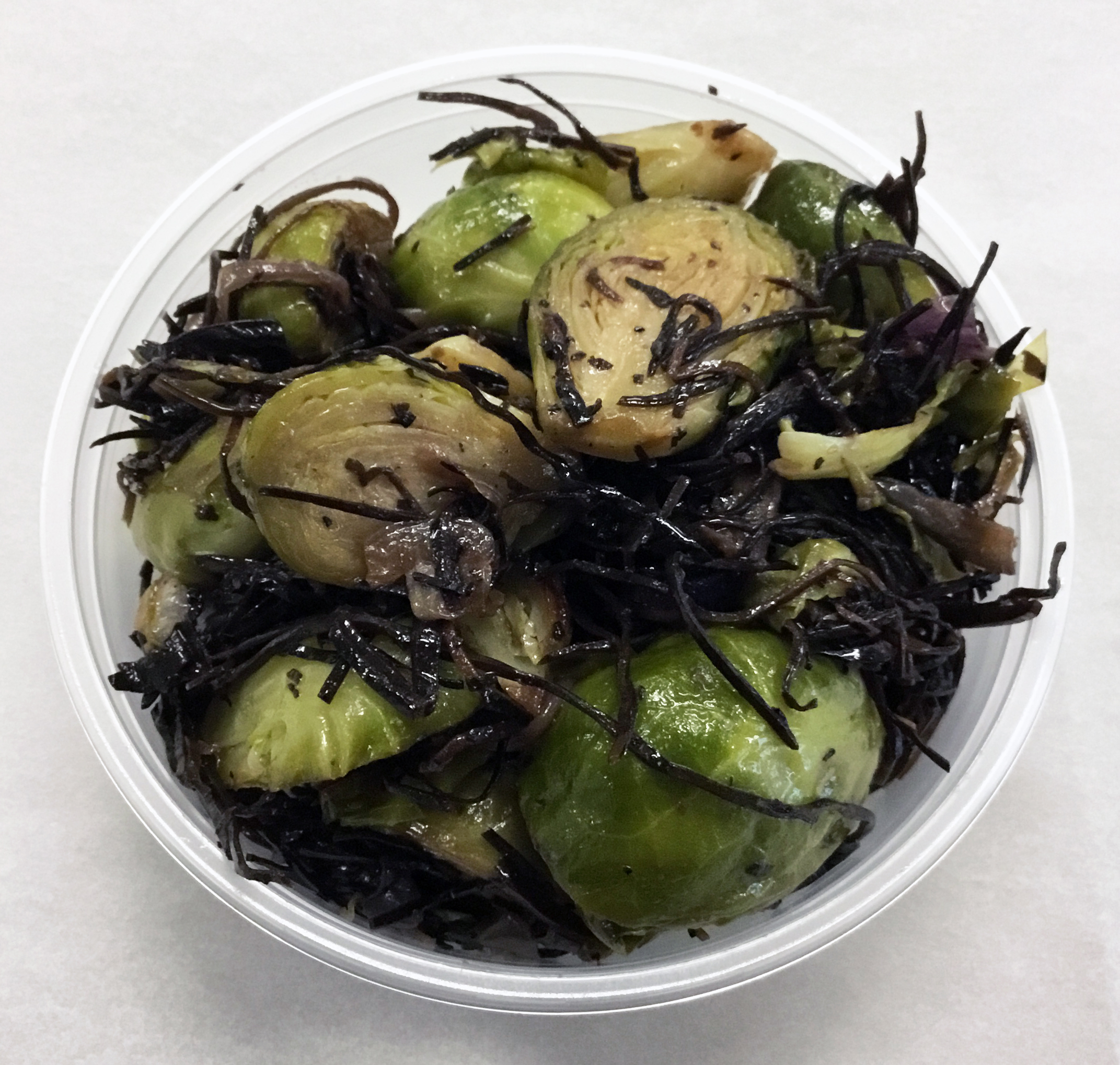 Water sauteed brussels sprouts with arame (seaweed).
