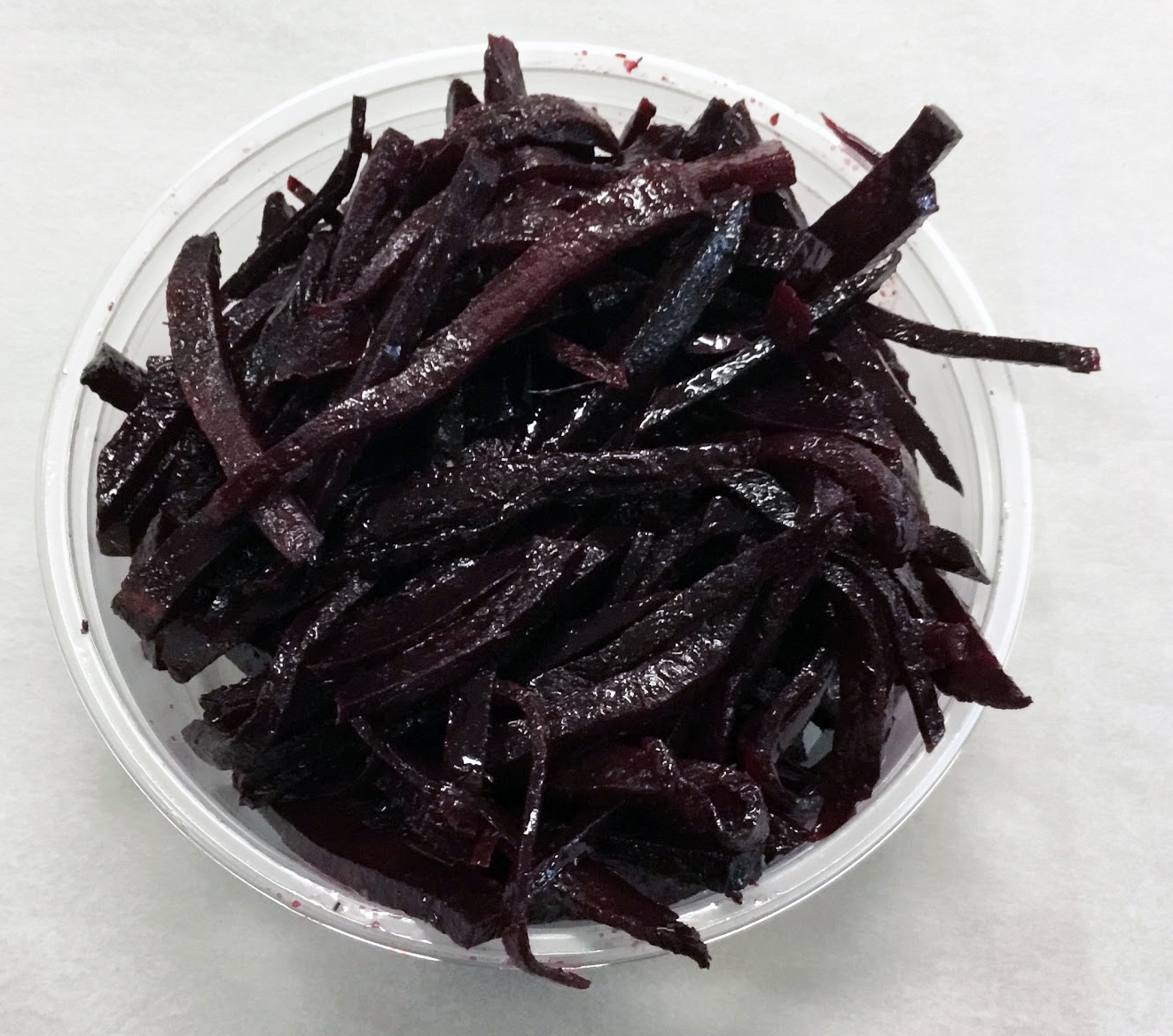 Red beets sauteed with dill.