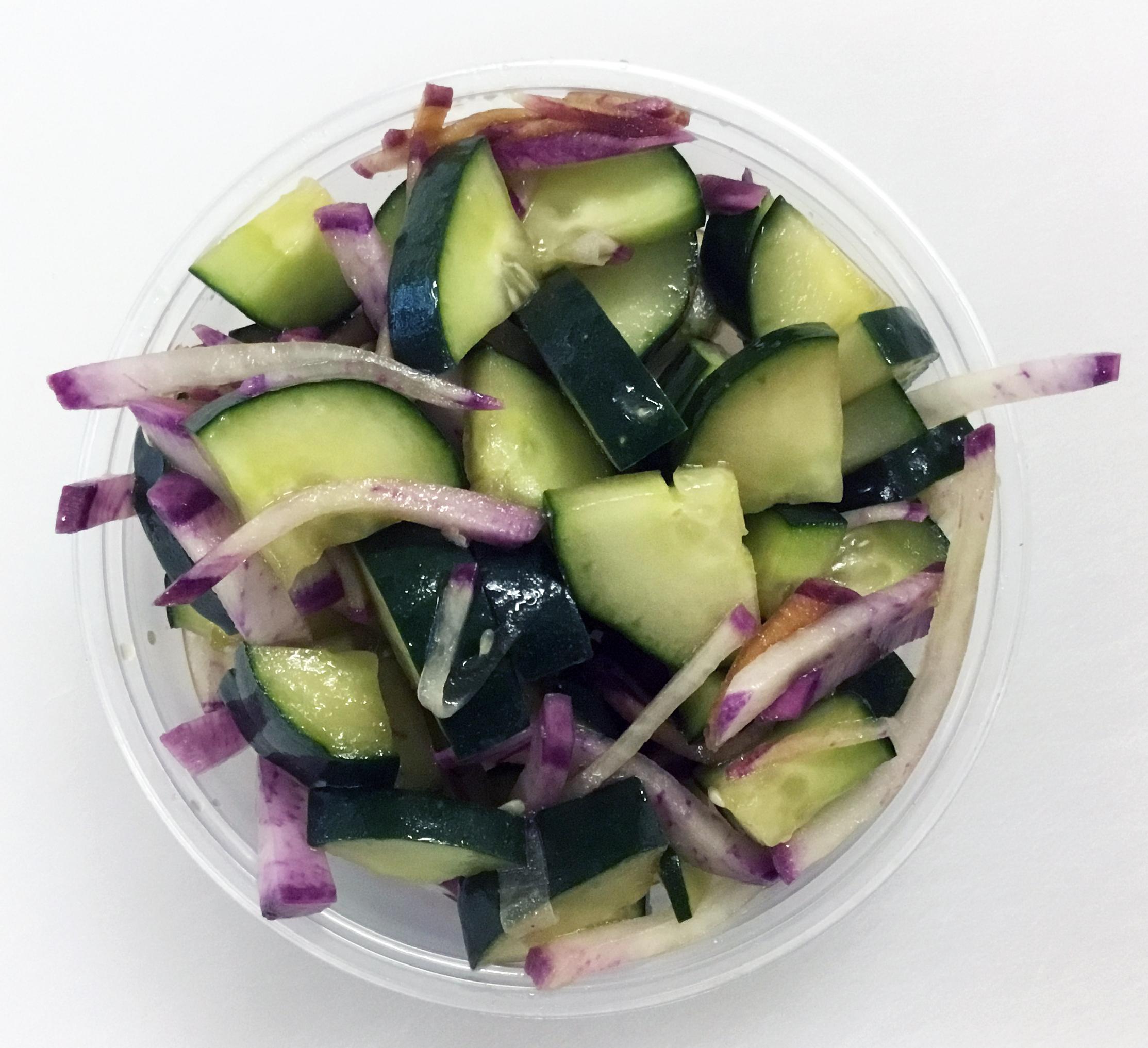 Cucumber and purple radish with tamari and olive oil.