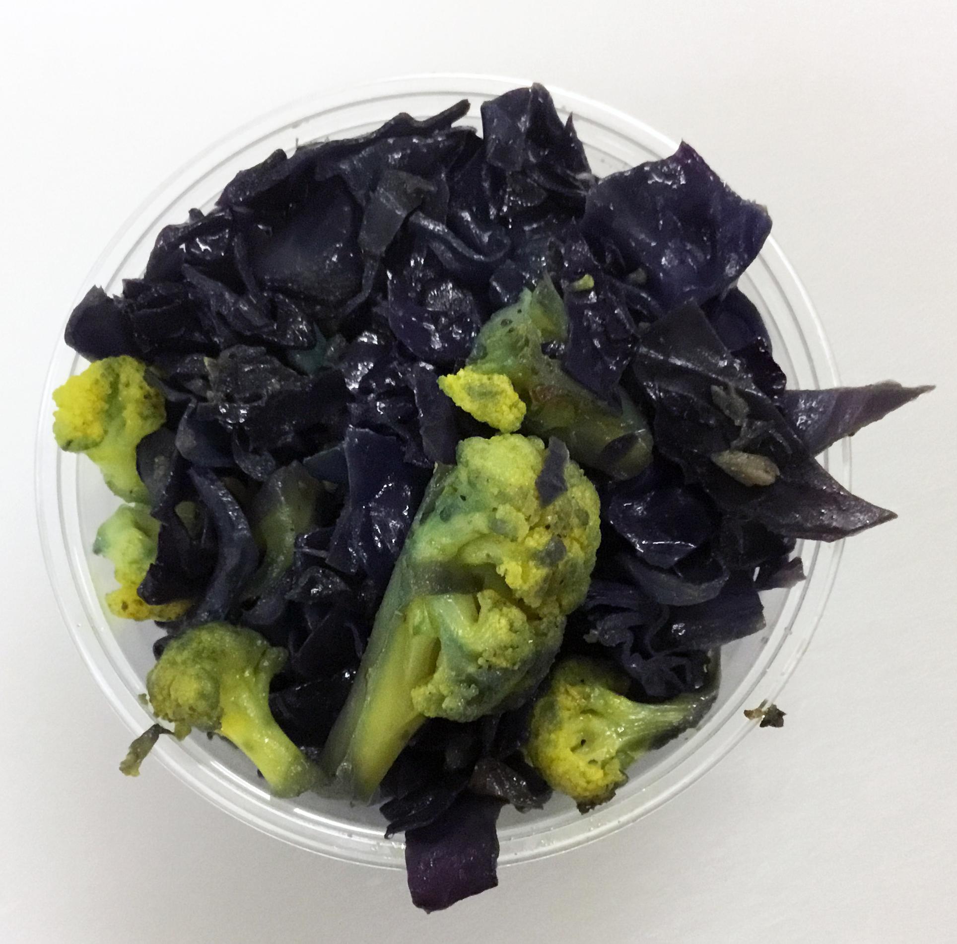 Red cabbage, cauliflower and turmeric sauté.