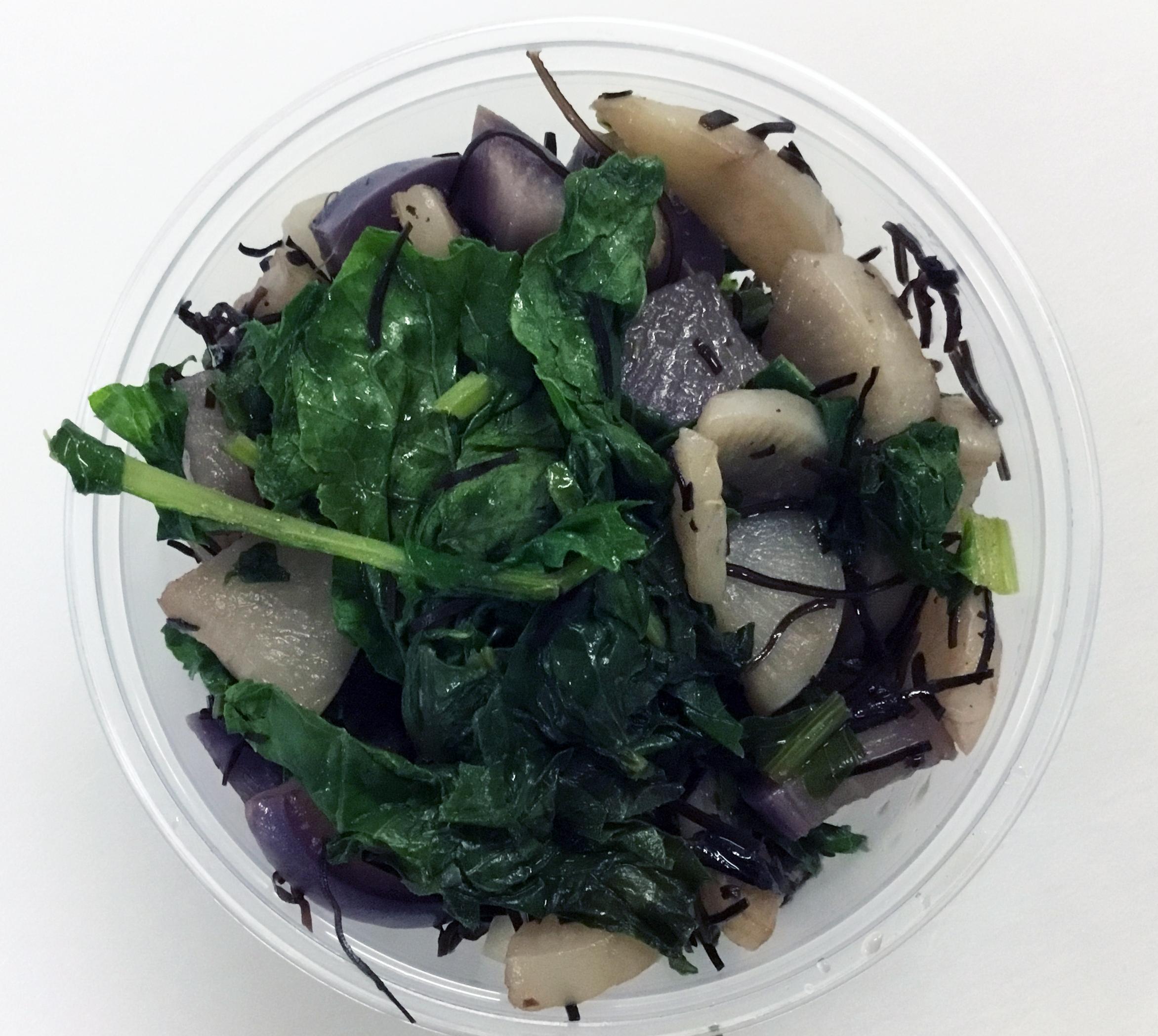 Daikon radish, purple radish, arame (seaweed) and tops.