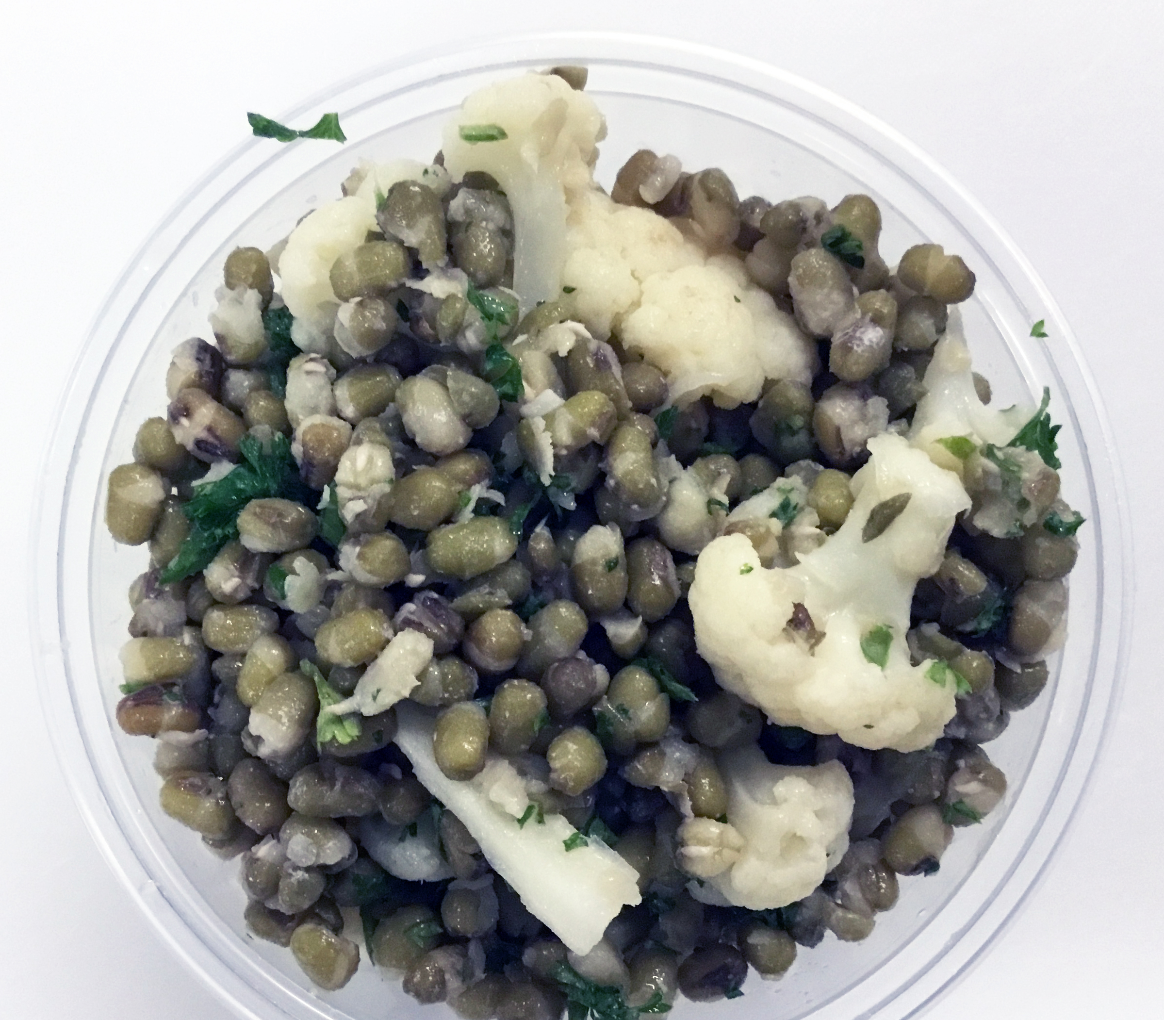 Mung beans with cauliflower and parsley.