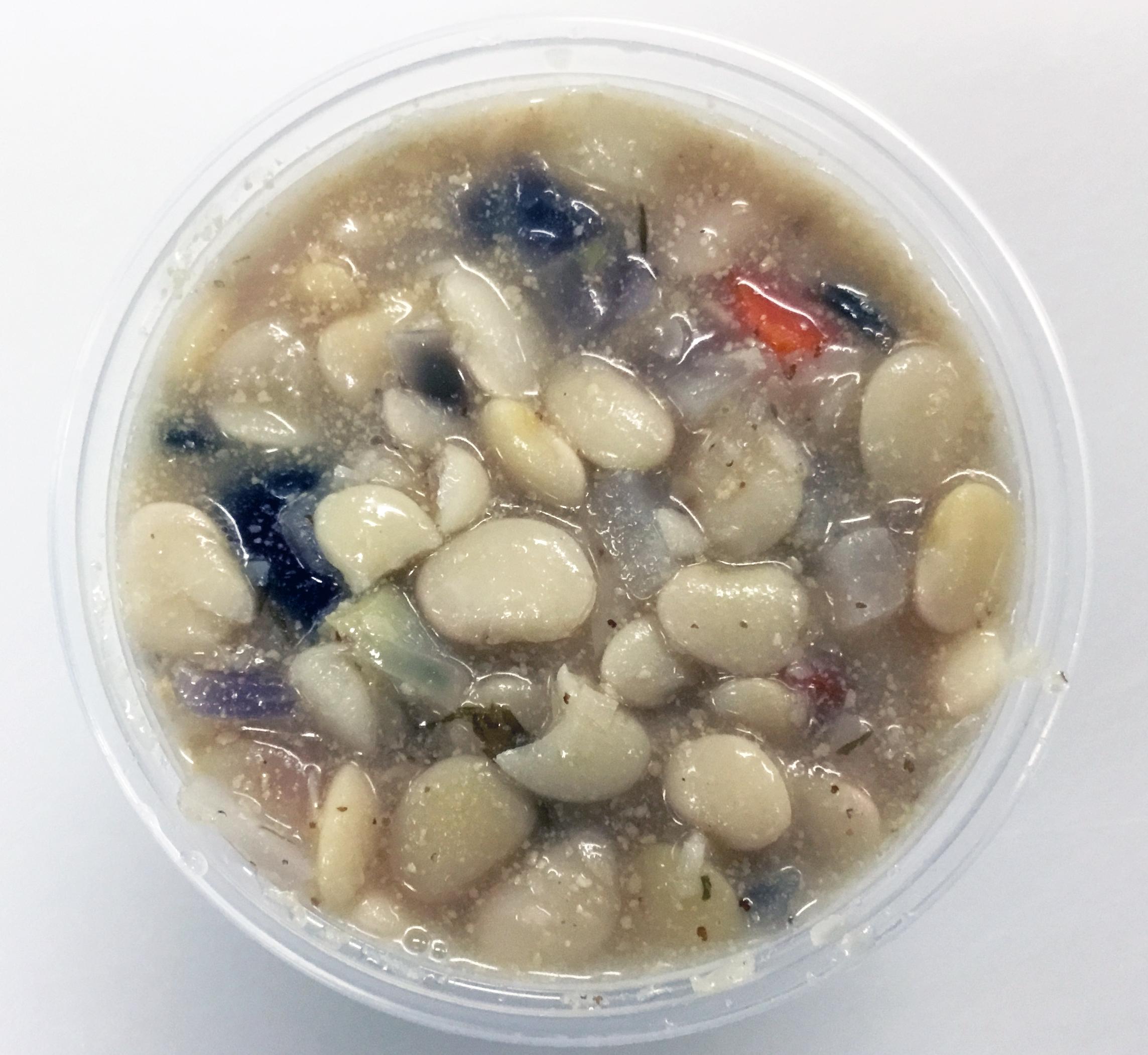 Baby lima bean soup with carrot, daikon radish, red onion, tahini, stone ground mustard, and kombu (seaweed).