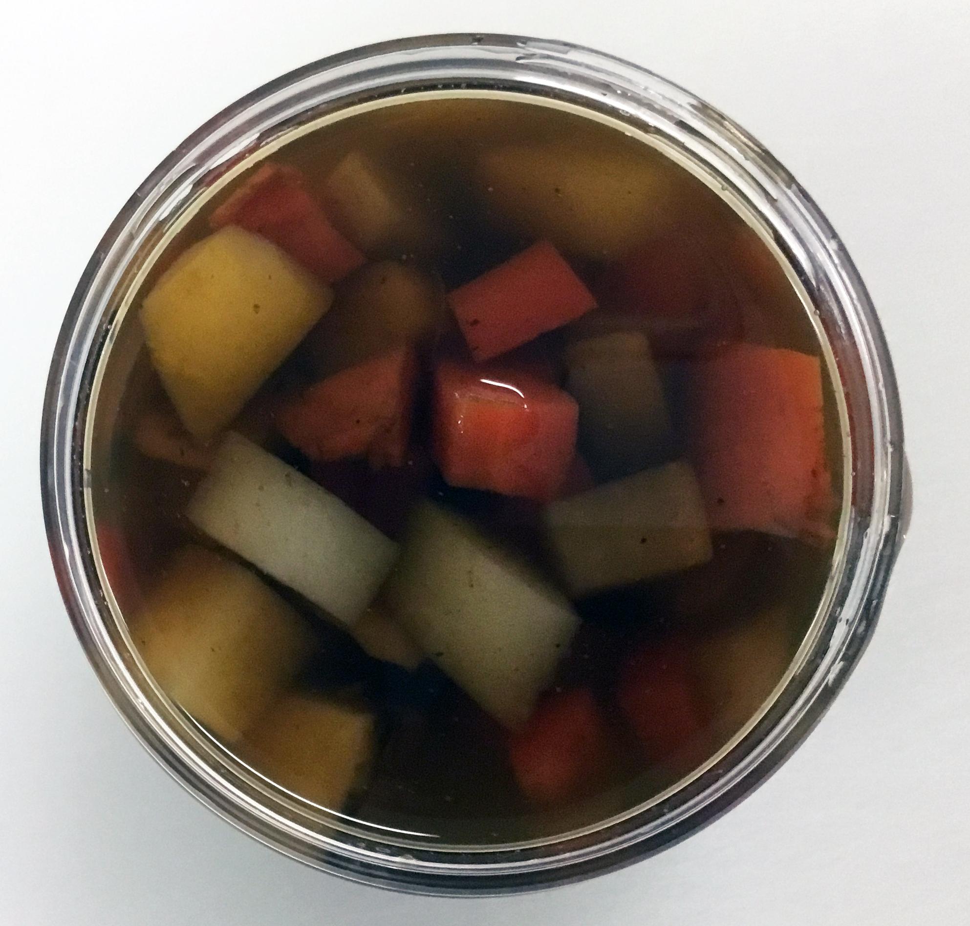 Dashi broth with rutabaga, turnip, carrot, daikon and sweet potato.