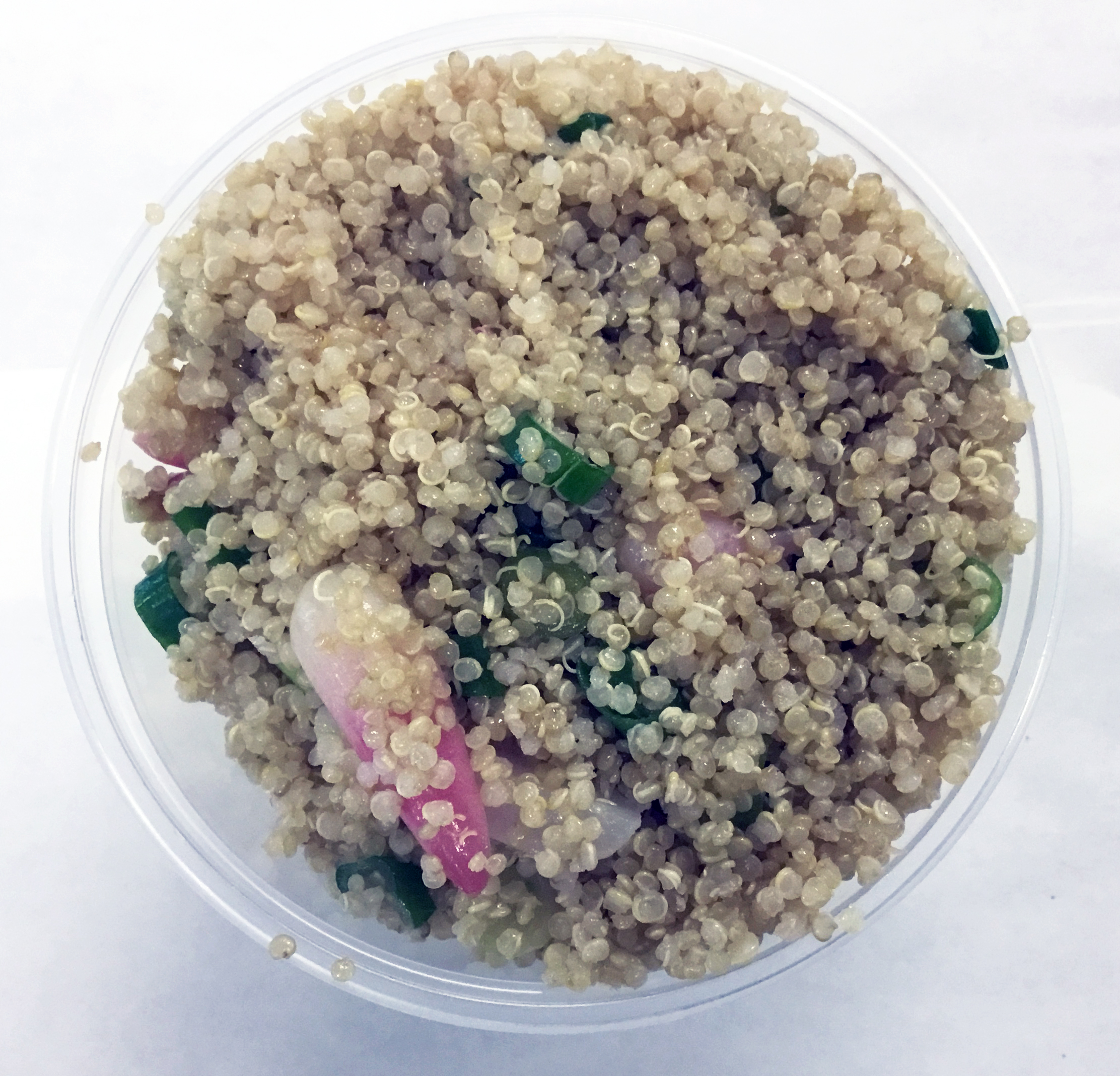 Quinoa with red radish, scallion, umeboshi vinegar and olive oil.