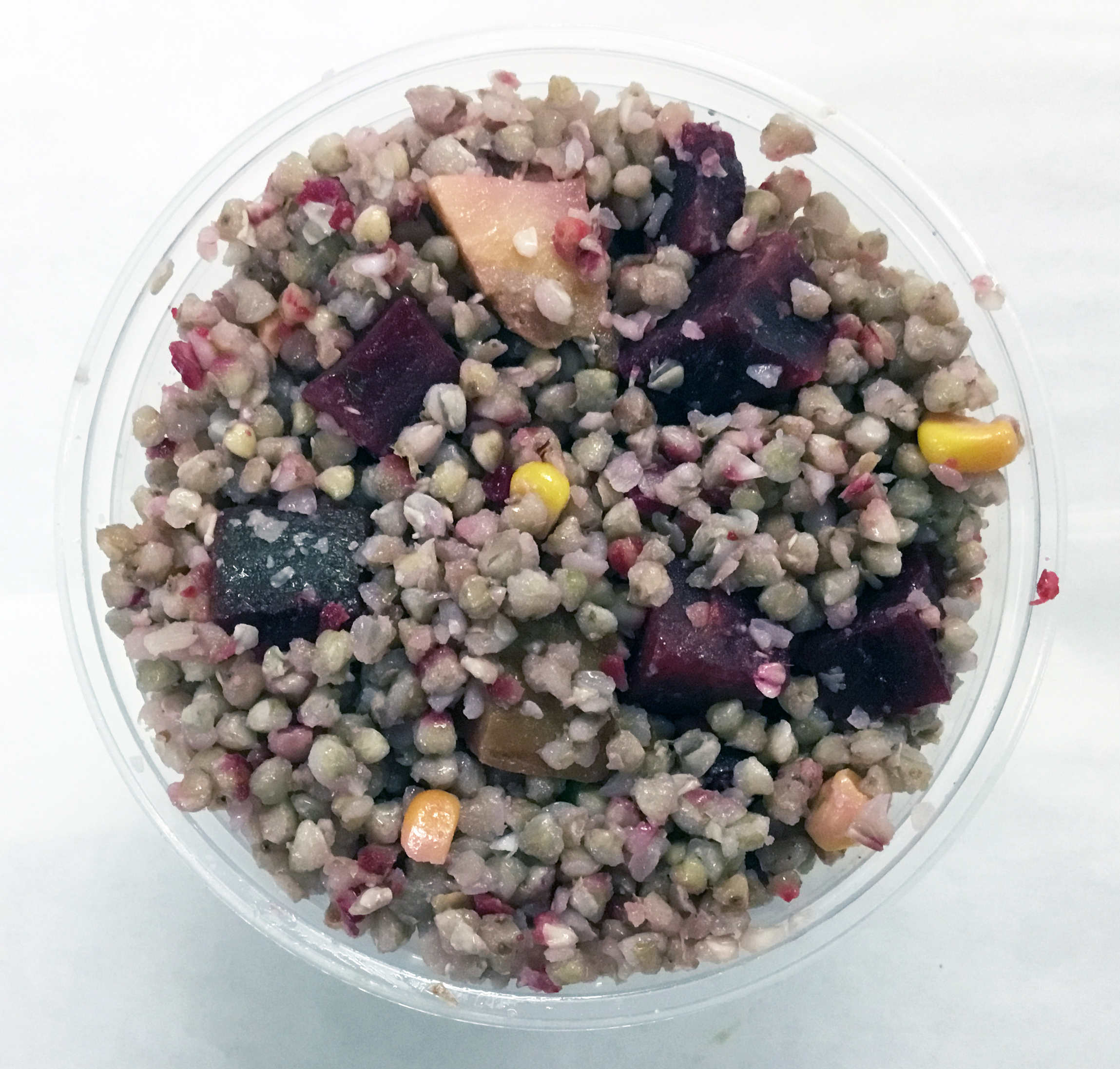 Buckwheat with beets, celery root, garlic, corn, brown rice vinegar and olive oil.