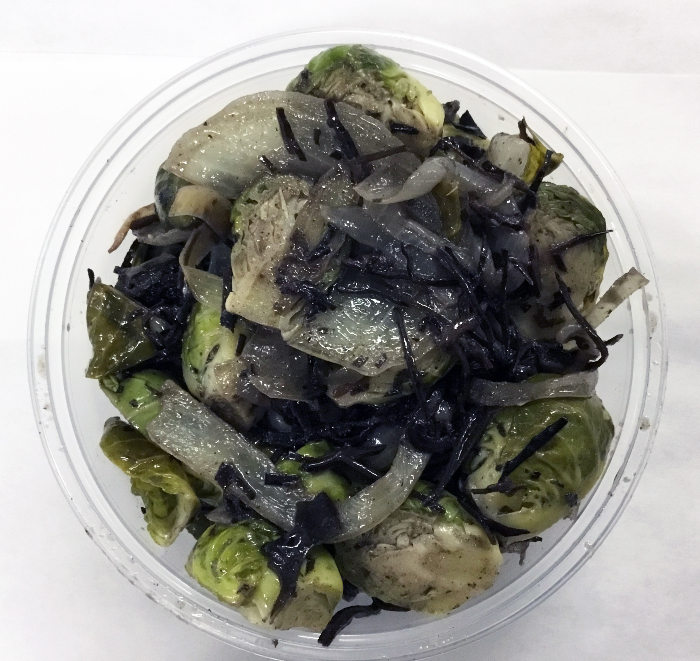 Brussel sprouts, onions and arame (seaweed).