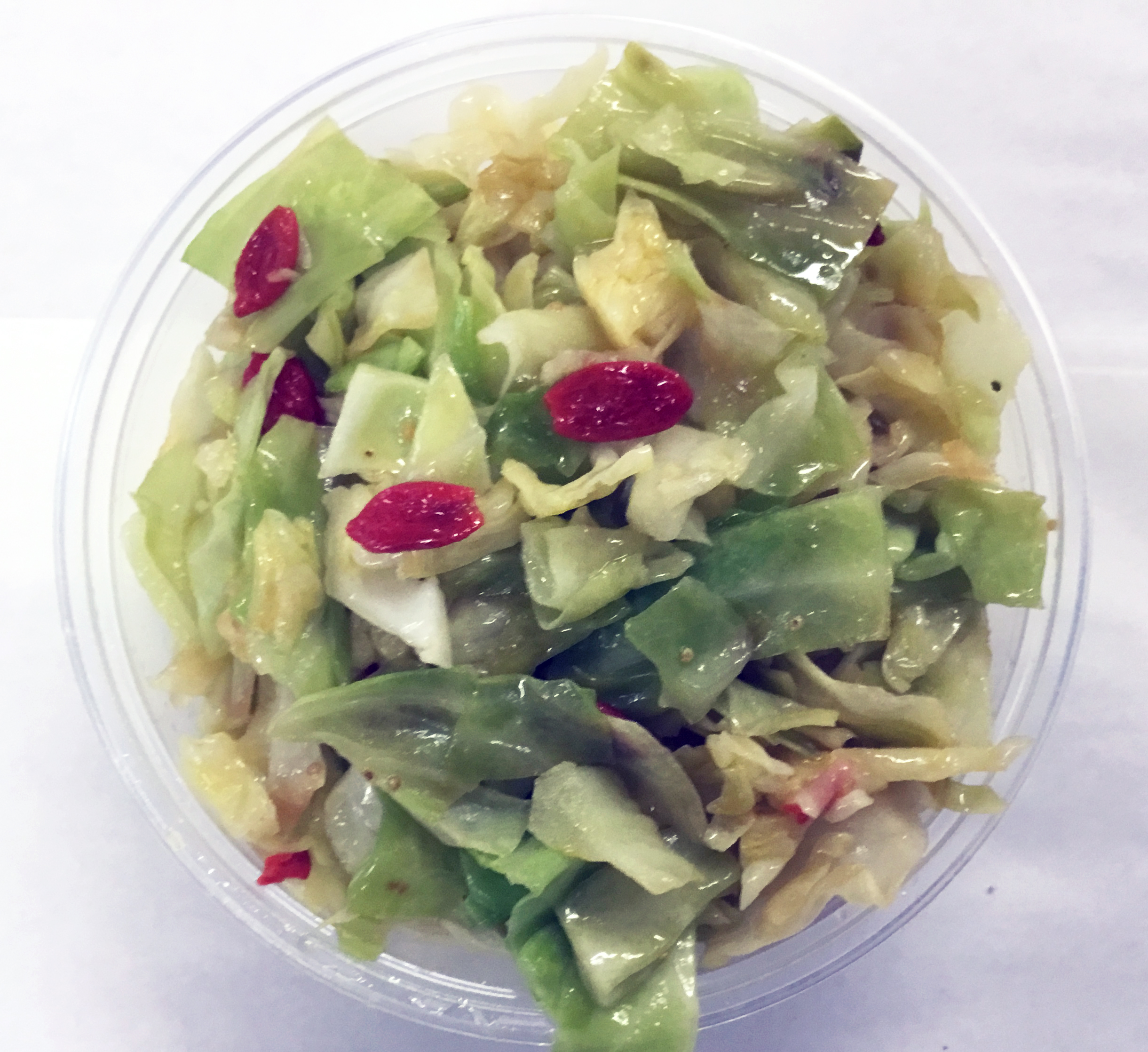 Sauteed cabbage and goji berries.