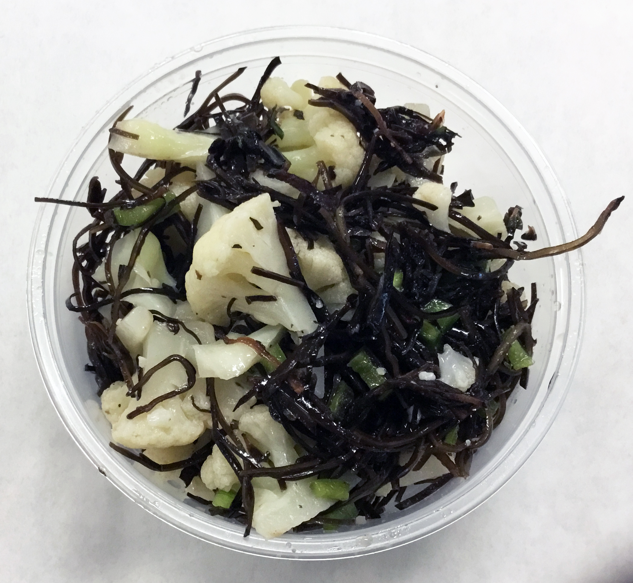 Arame (seaweed) salad with steamed cauliflower, Pablano peppers, apple cider vinegar and olive oil.