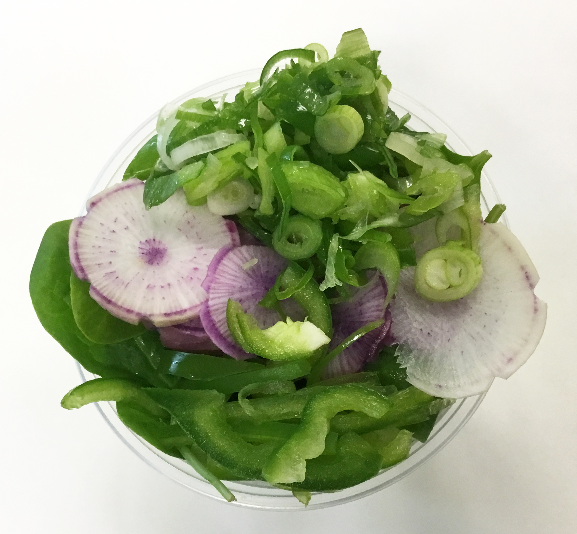 arugula, spinach, purple daikon, bell pepper and scallions