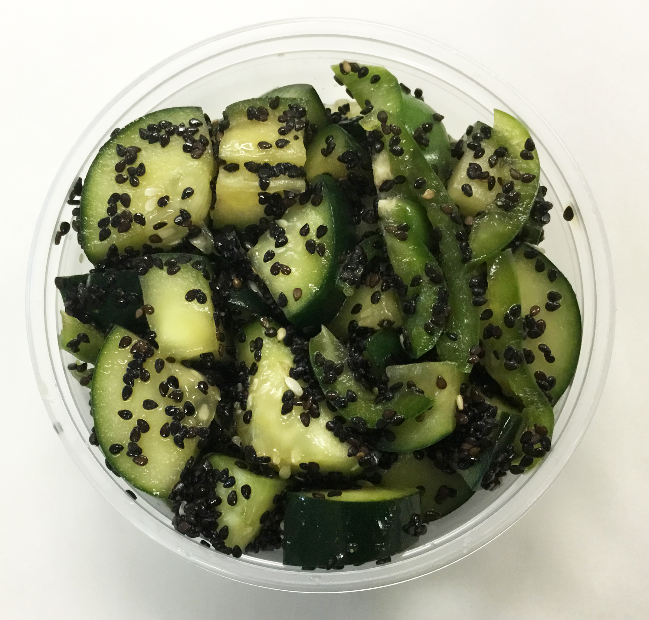 cucumber and black sesame seeds salad, tamari dressing