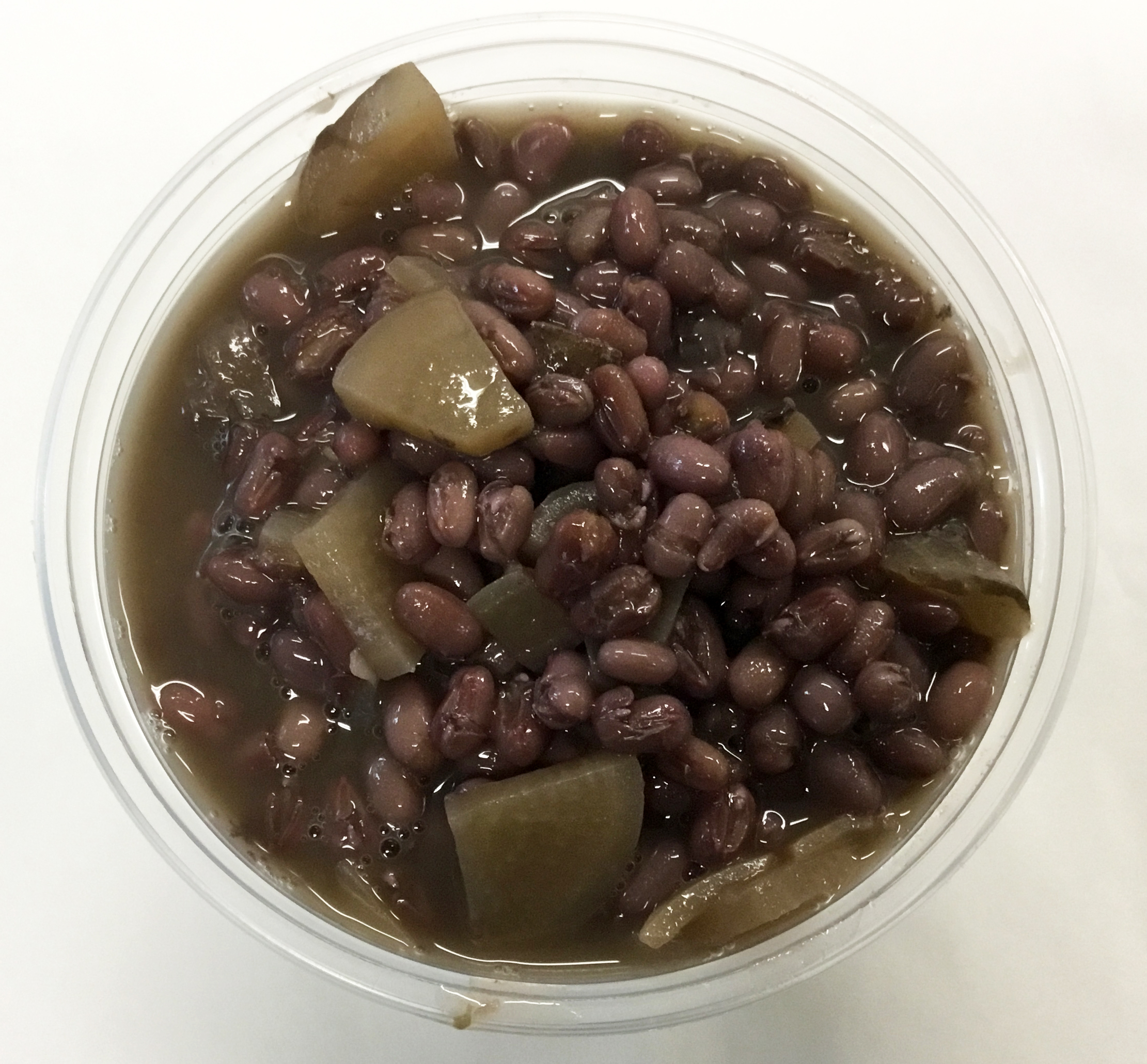 adzuki bean soup with white onion, daikon and tamari
