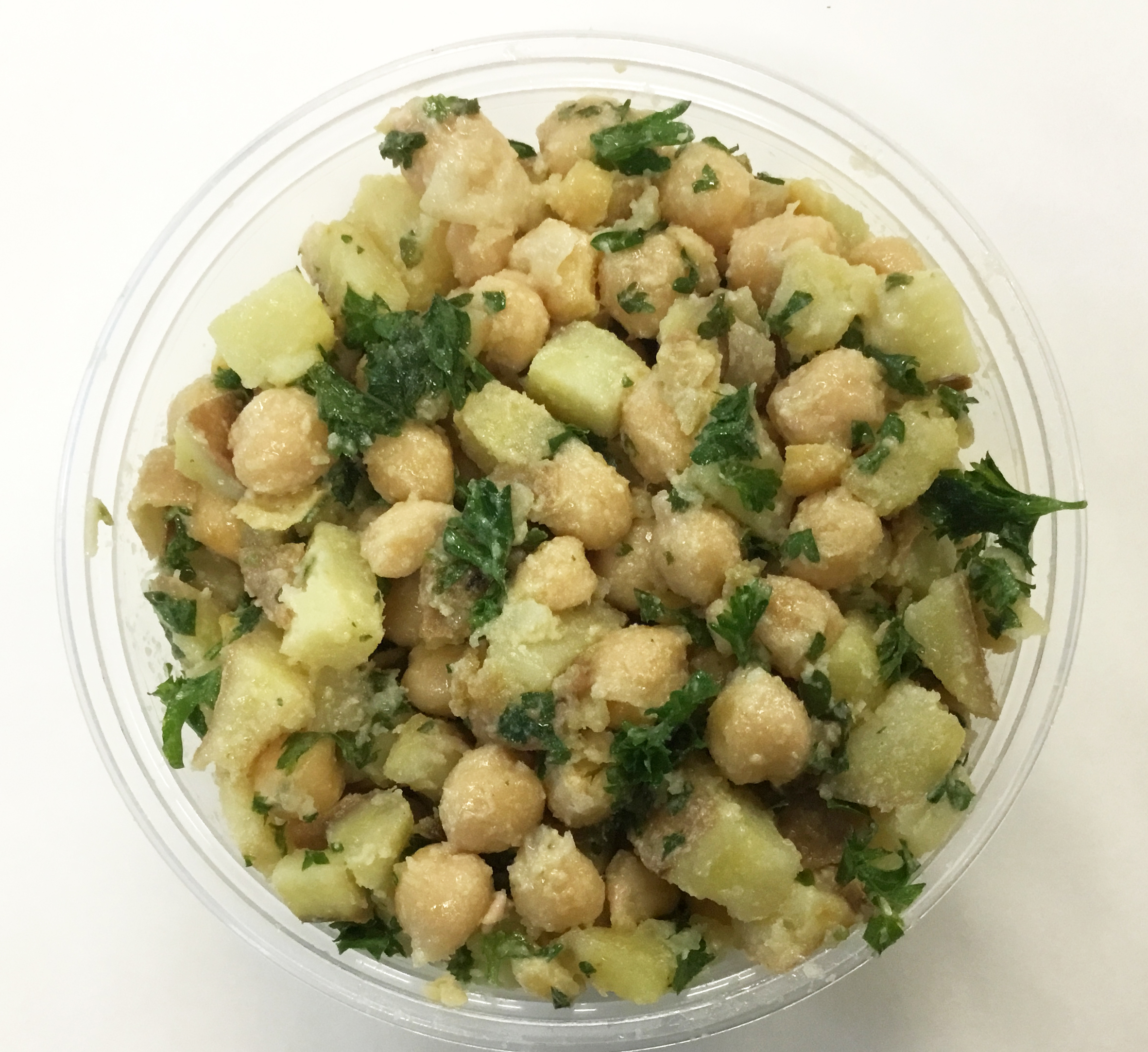 chickpeas and sweet potato and parsley, tahini dressing
