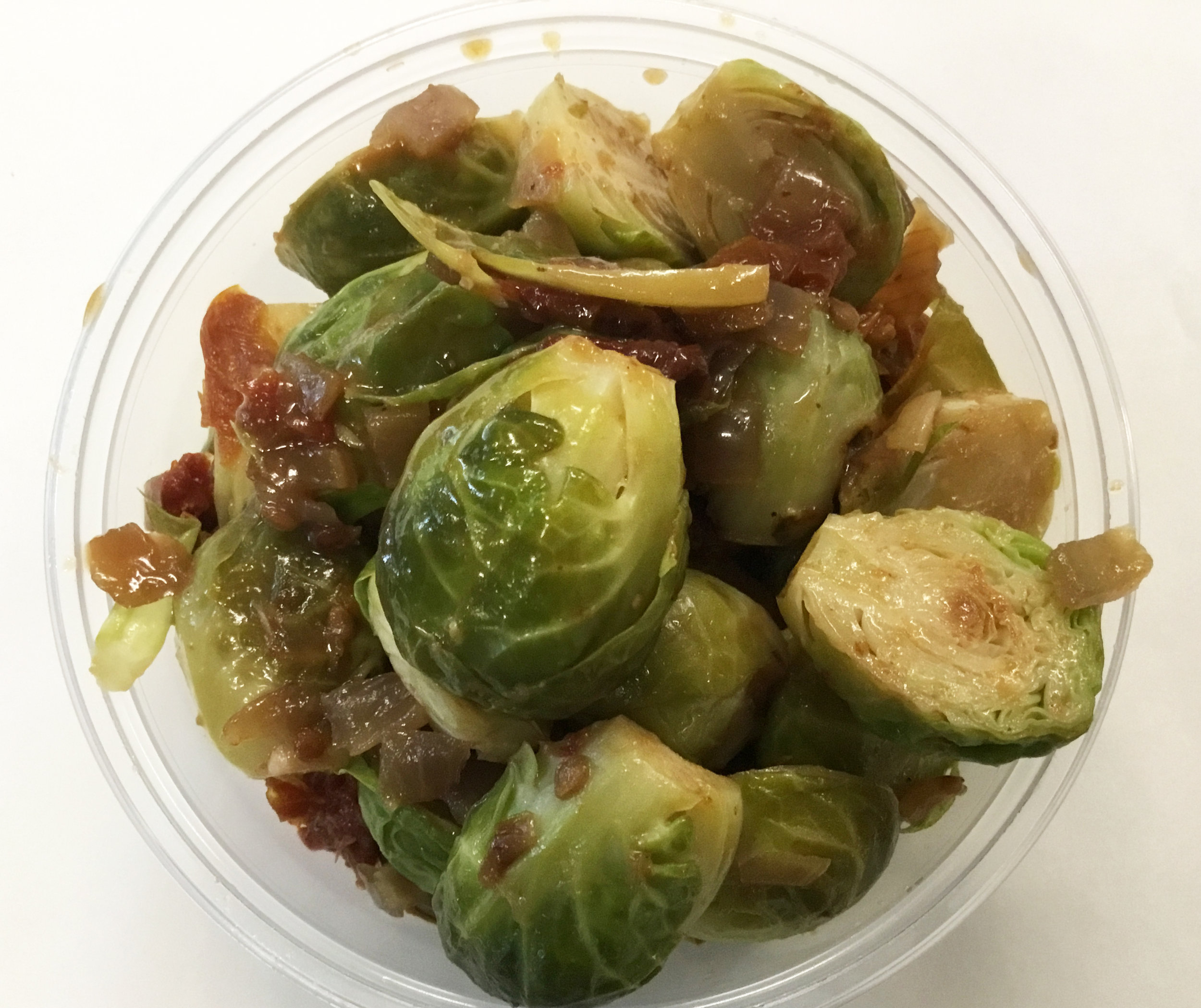 water and oil sauteed brussels sprouts and sun dried tomato