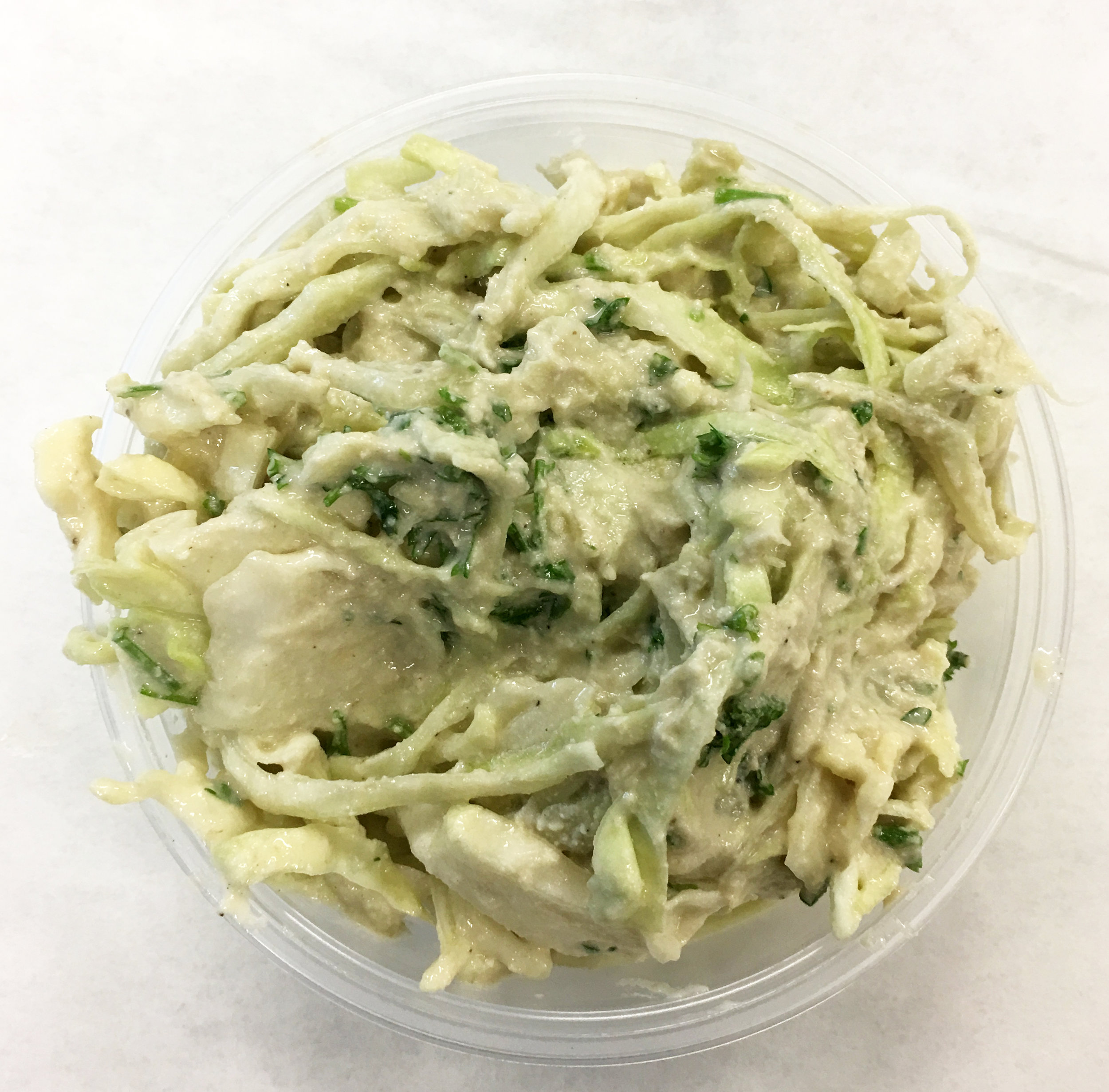 Green cabbage coleslaw with parsley, brown rice syrup, brown rice vinegar and stone ground mustard.