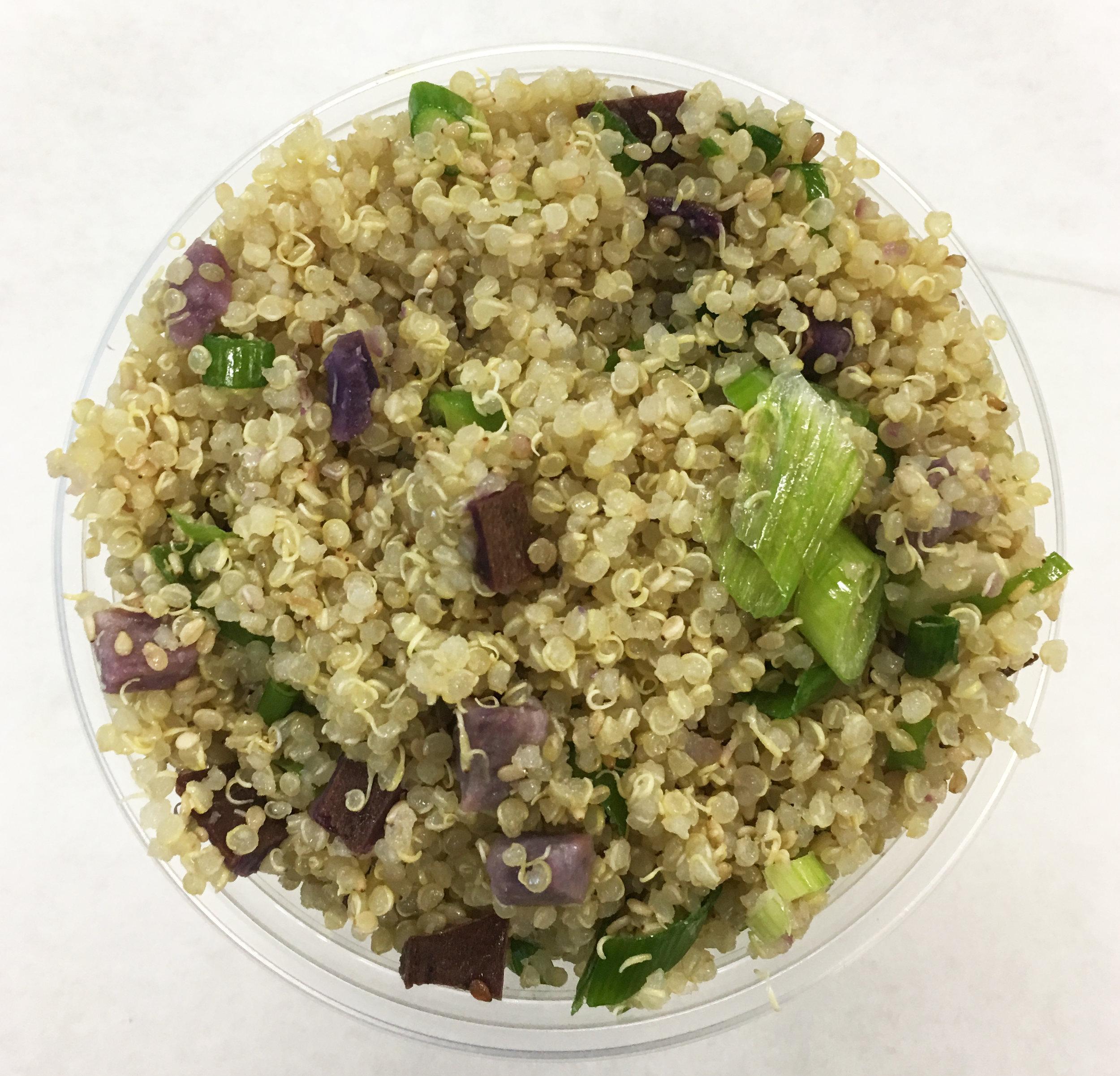 Quinoa with purple yams and scallions.