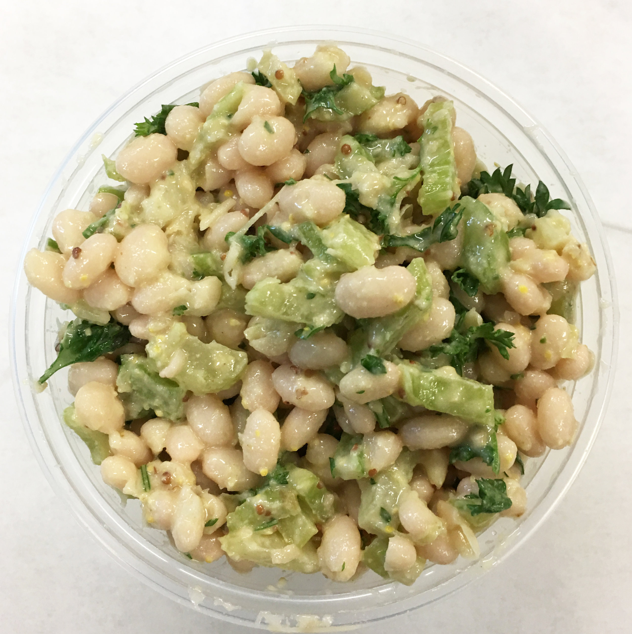 Navy beans with celery, parsley, lemon and tahini.