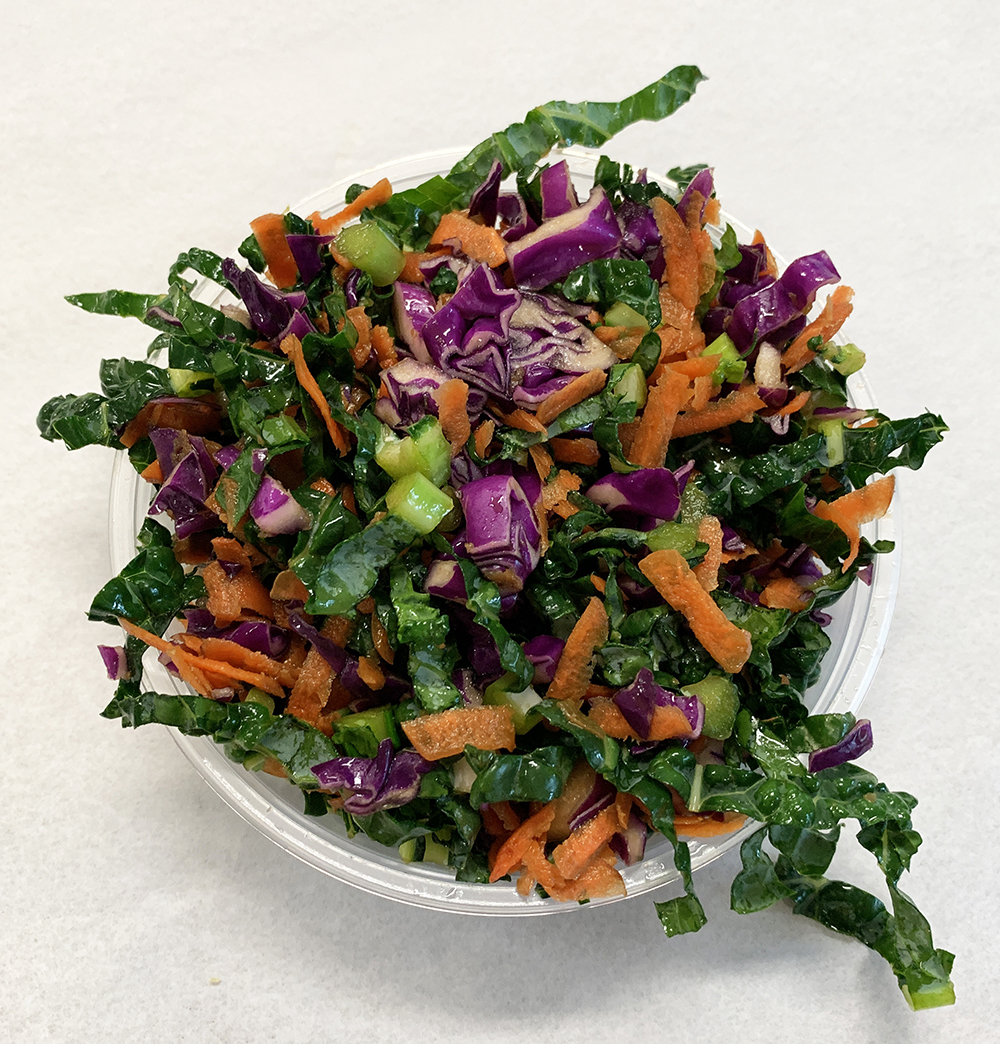 Dino kale, carrot and red cabbage pressed salad.