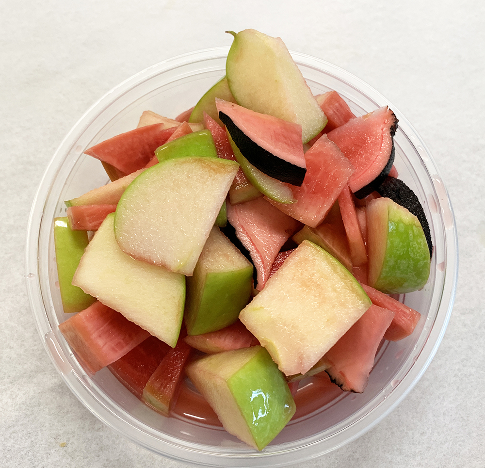 Marinated watermelon radish, black radish and green apples.