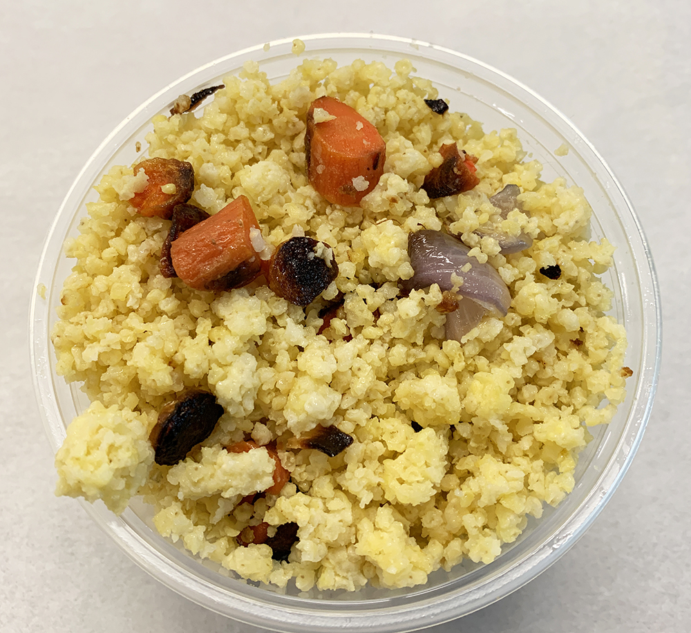 Millet, roasted carrot and onion.