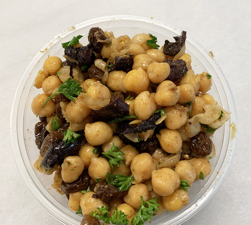 Garbanzo beans, roasted tamari mushrooms, raisins and parsley.