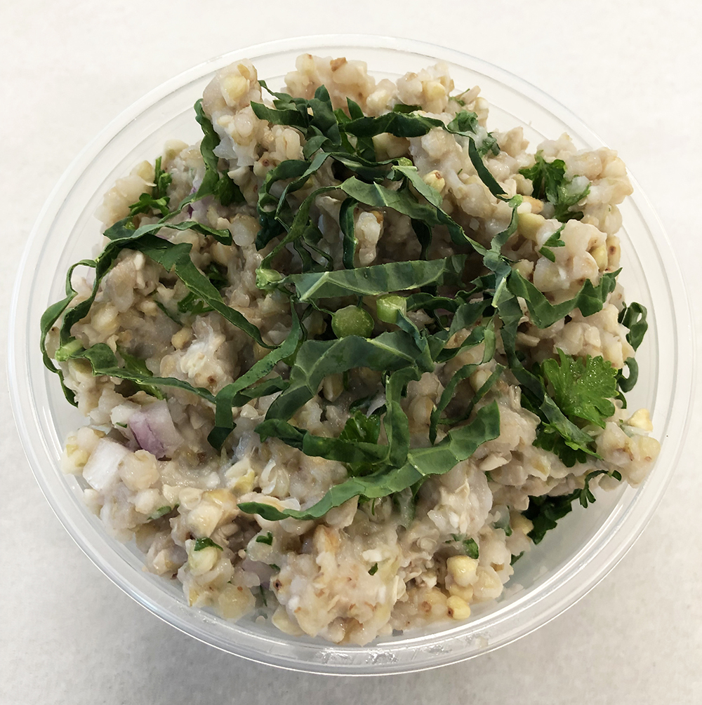 Buckwheat tabouleh with parsley and kale.