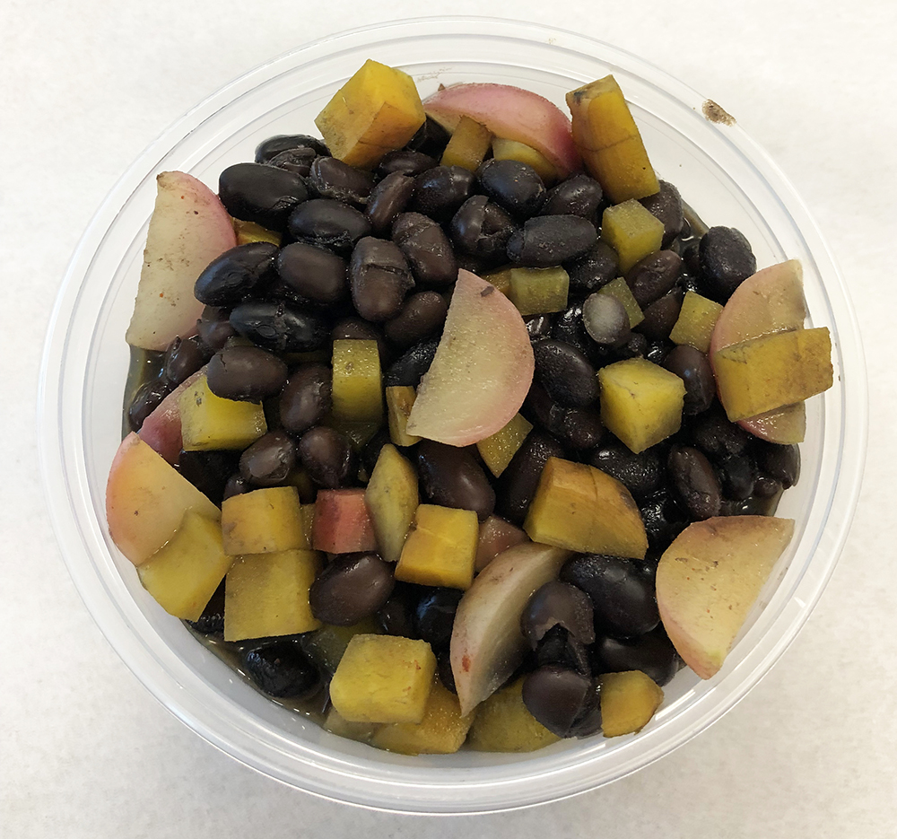 Black beans with red radish and multicolored beets.