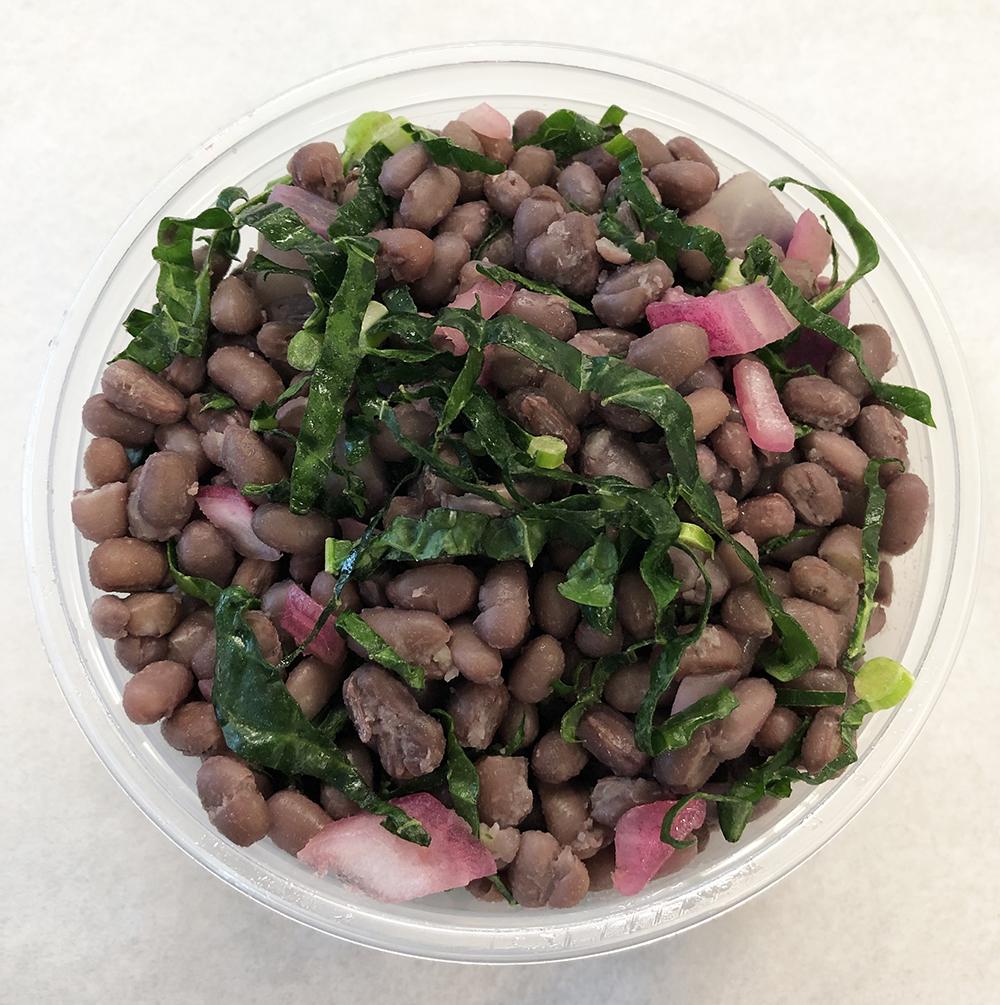 Adzuki beans with purple daikon and Dino kale.