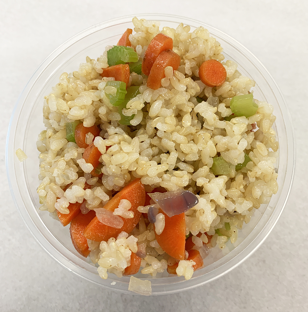 Brown rice with sautéed celery, onion and carrot.