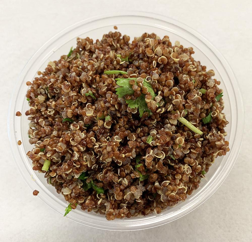 Quinoa with stone ground mustard vinaigrette and parsley.