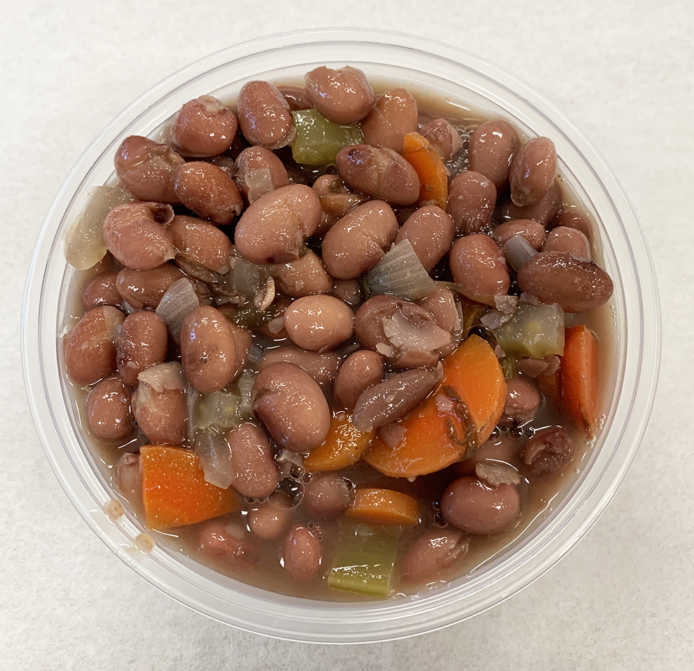 Kidney bean chili with celery, carrot and onion.