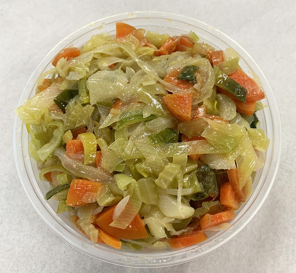 Sautéed leeks with celery, carrot and onion.