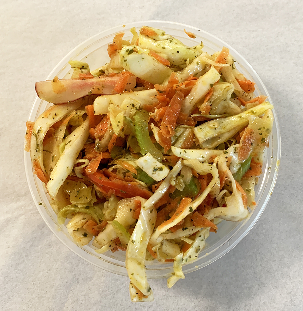 Southwest green cabbage and carrot coleslaw, with fresh ginger and turmeric.