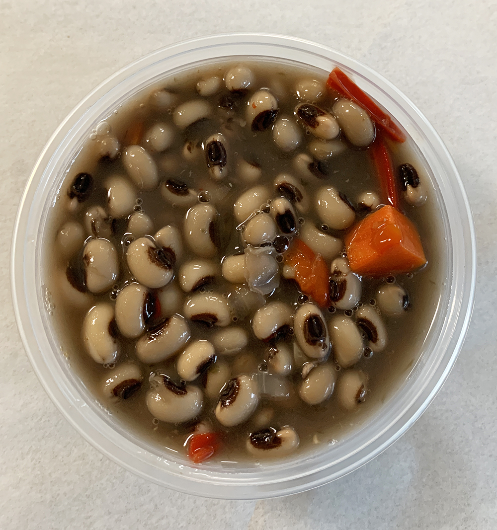 Black eyed peas with carrots, onion, and bell peppers.