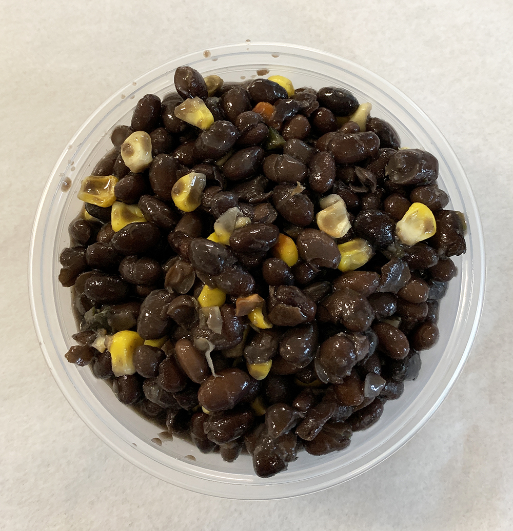 Black beans with roasted corn and poblano mushrooms.