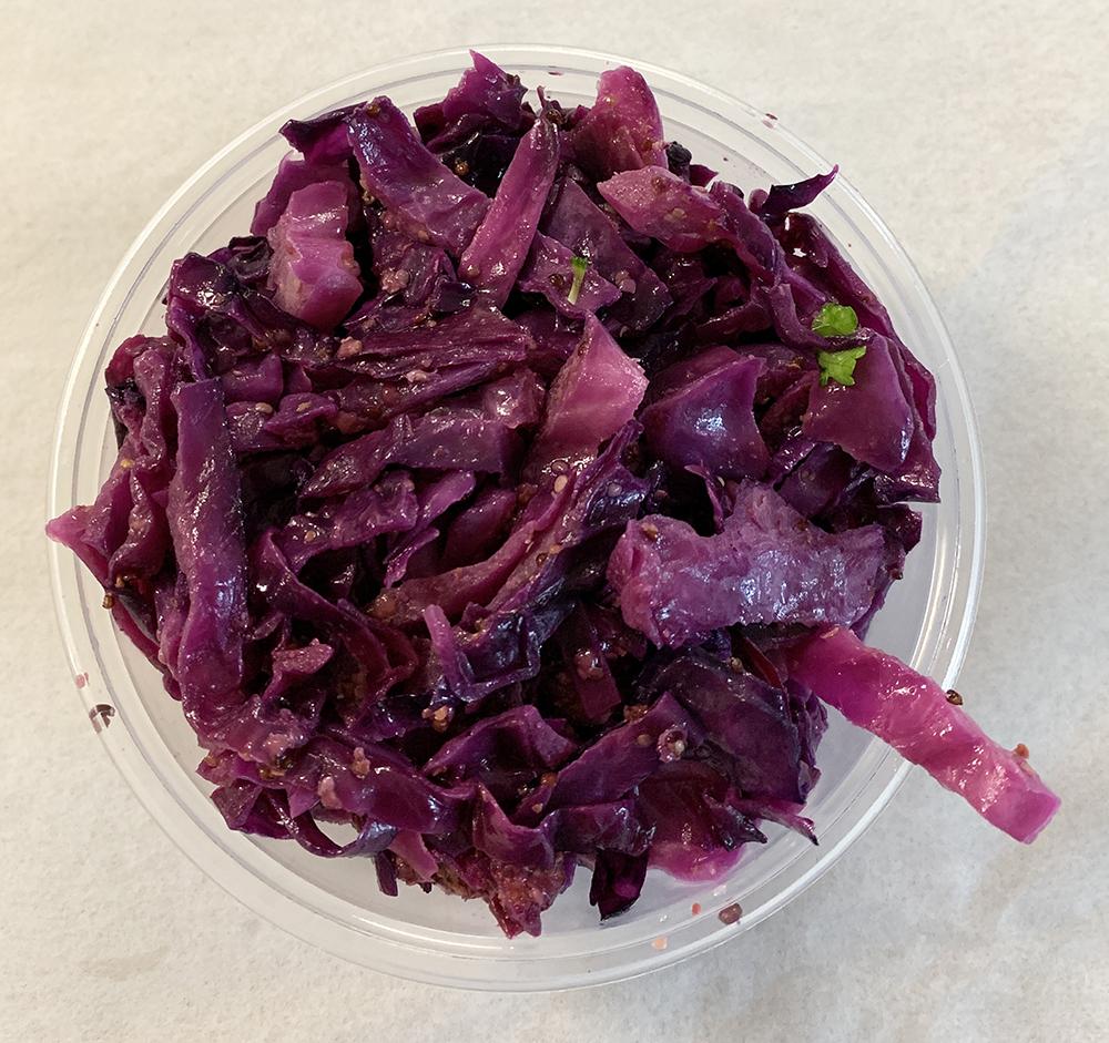 Red cabbage sautéed in stone ground mustard.