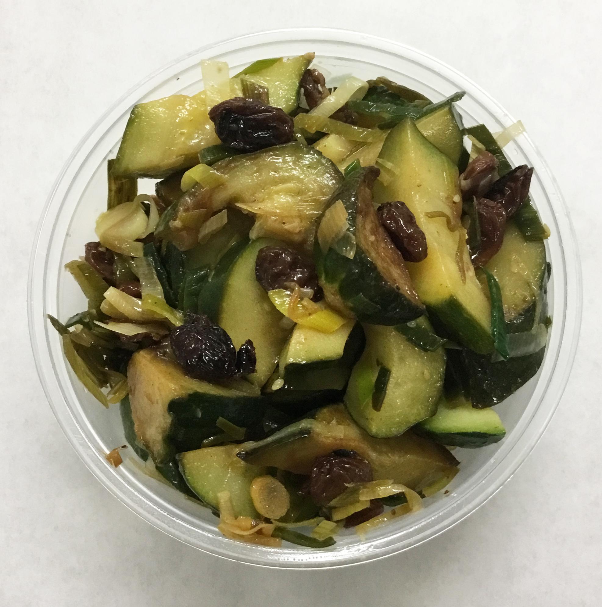 Sauteed zucchini with Thompson raisins and sage.