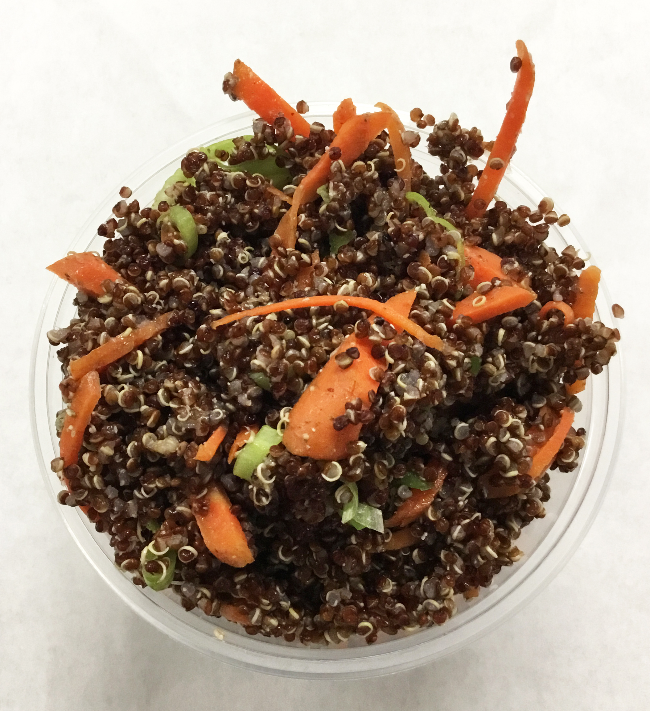 Red quiona, carrots and scallions with a chia seed and umeboshi vinegar dressing.