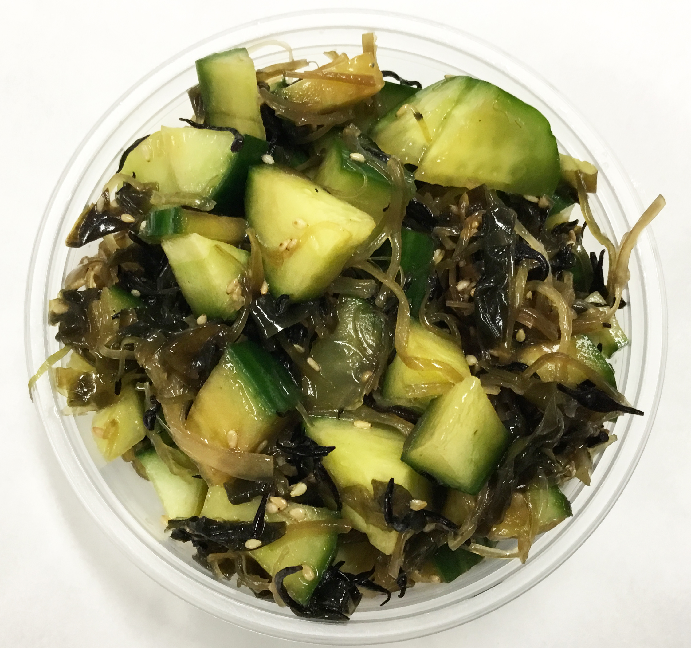 Cucumber and seaweed salad with sesame seeds, tamari and toasted sesame oil.