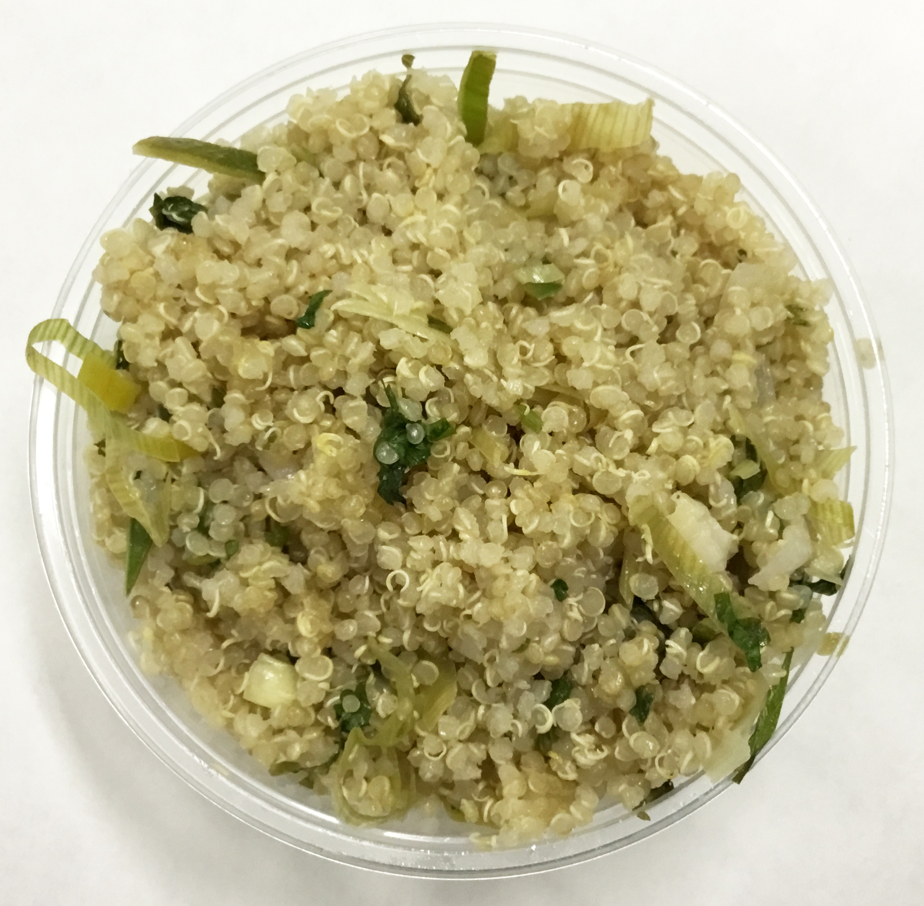 Quinoa with leeks, cilantro, umbeboshi vinegar and toasted sesame oil.