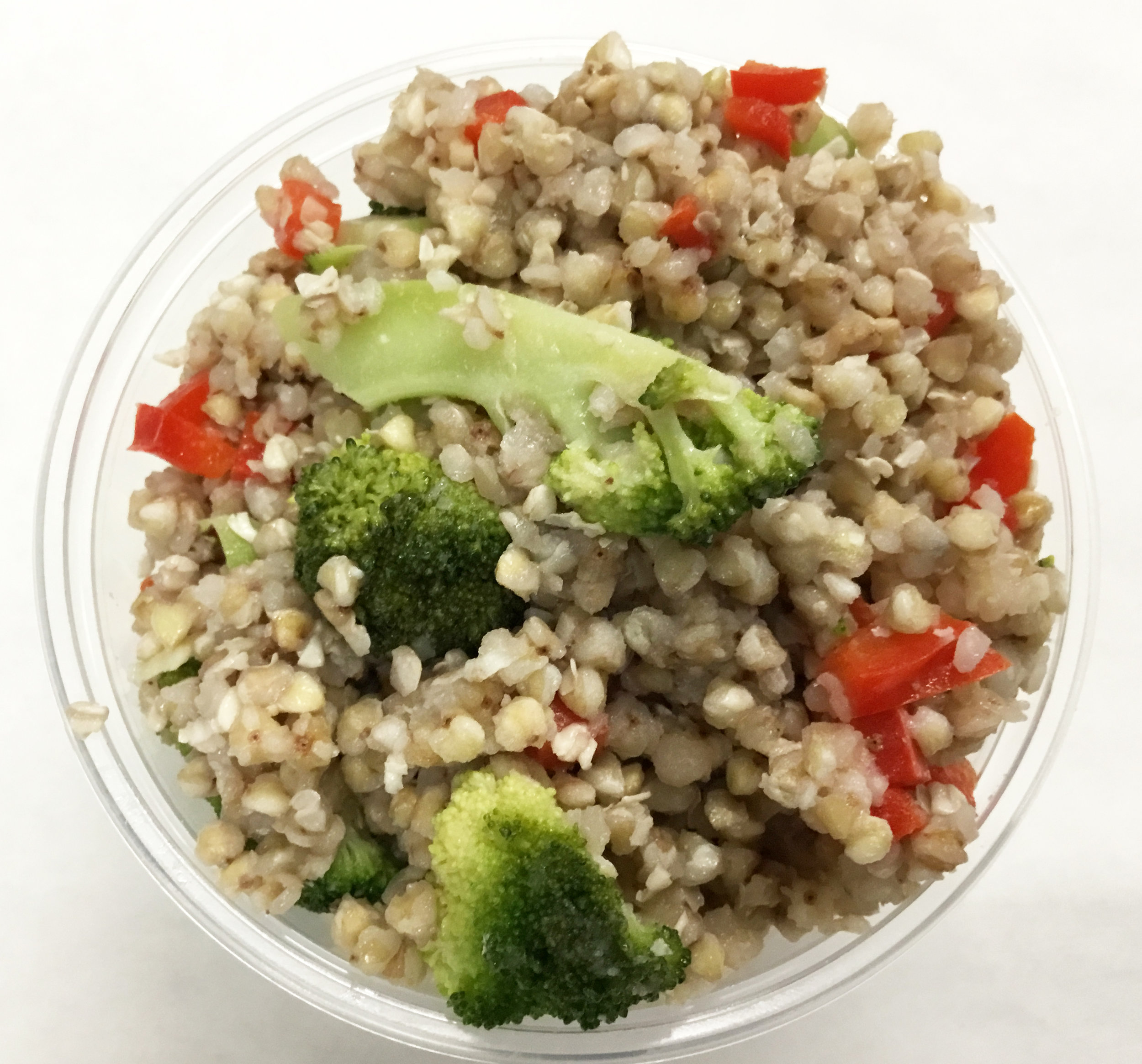 Buckwheat with broccoli, red bell pepper, garlic and a brown rice vinegar dressing.