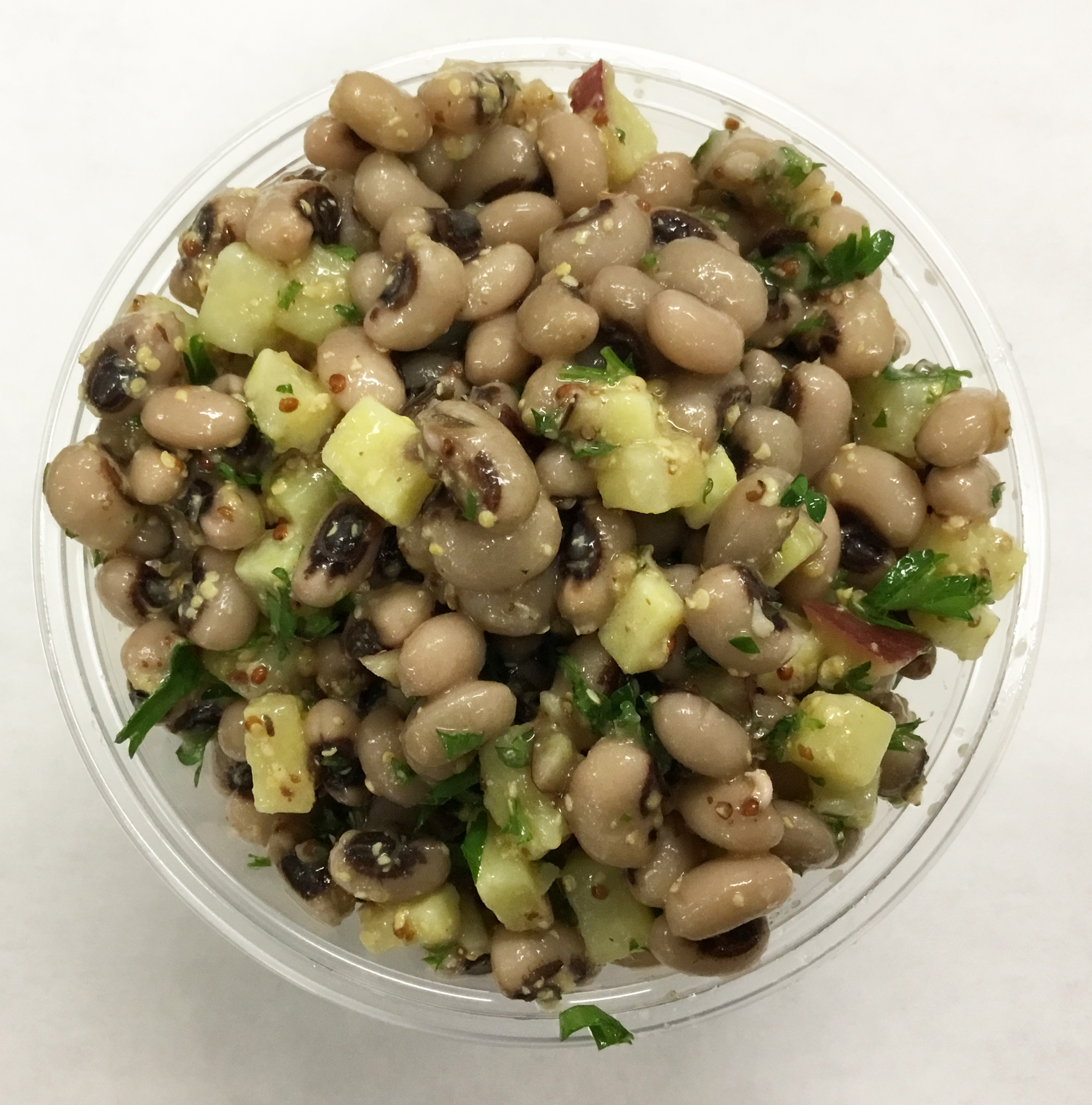 Black eyed peas with Japanese sweet potatoes and a stone ground mustard dressing.