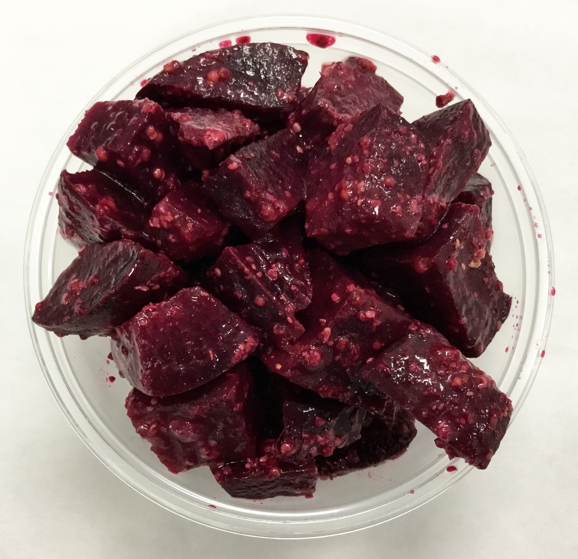 Red beets with a French vinaigrette dressing.