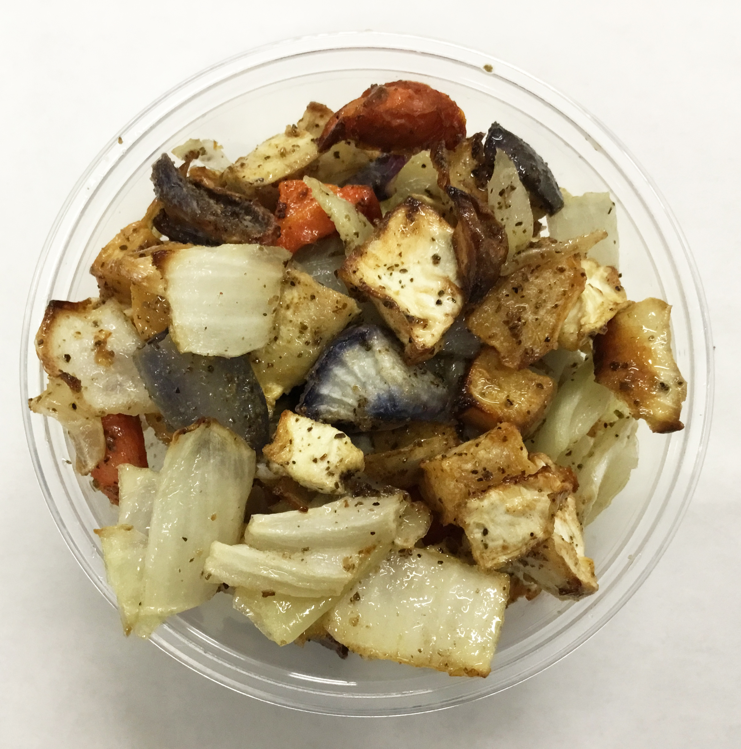 Roasted root vegetables of rutabaga, carrot and celery root.