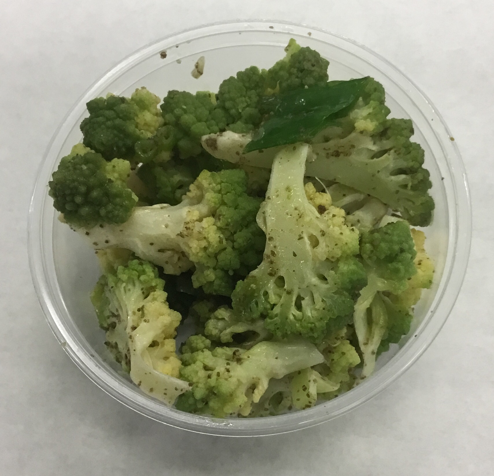Romanesco with garlic and raw kelp (seaweed) powder.