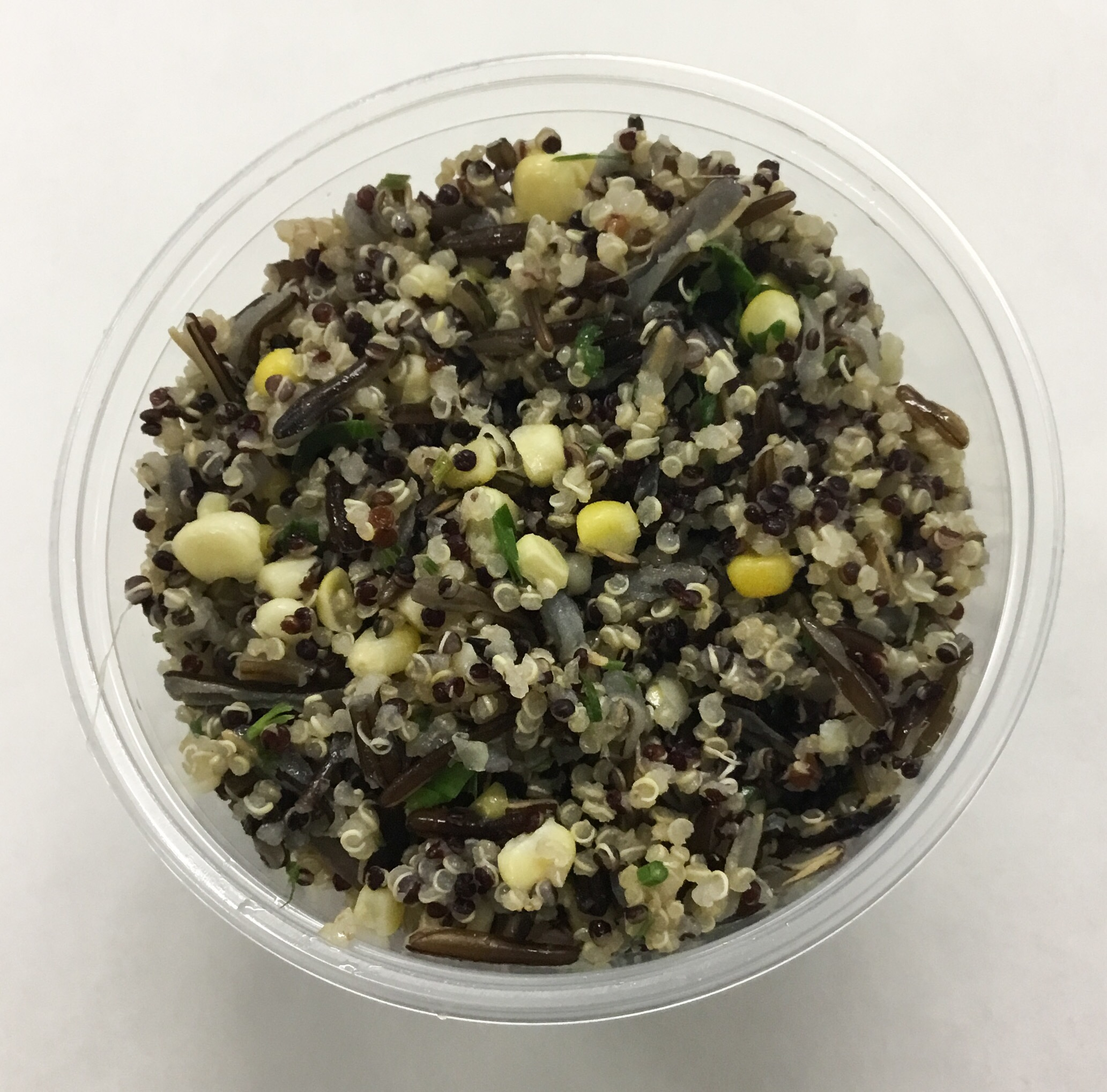 Quinoa and wild rice with corn, brown rice vinegar, olive oil and parsley.
