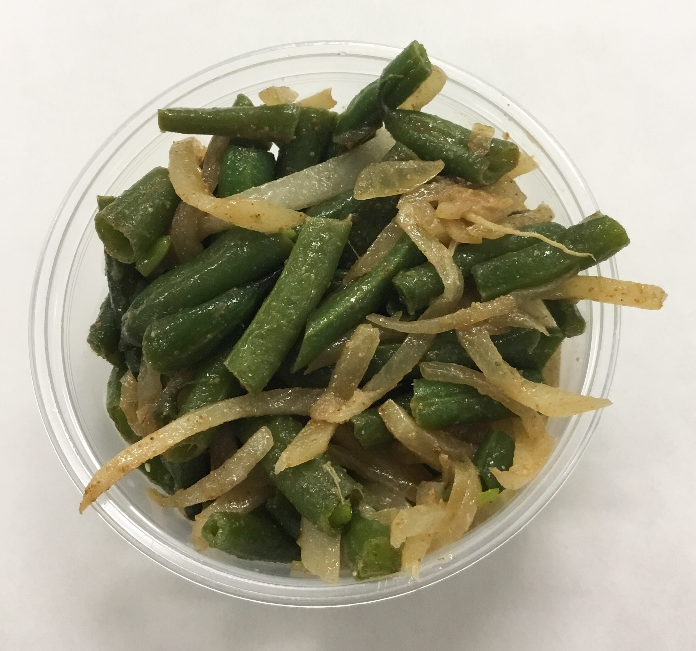 Green beans, daikon radish and onion.