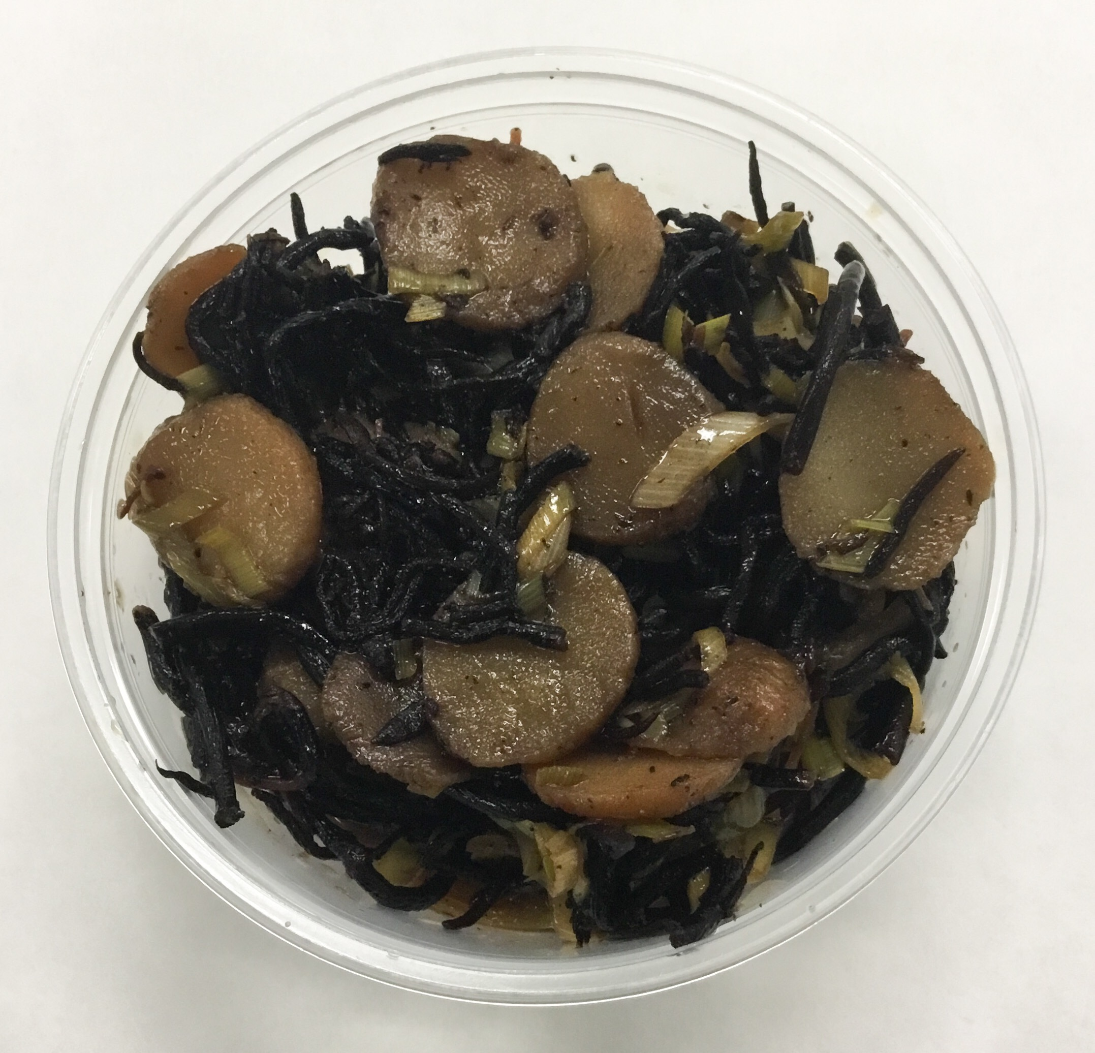 Hiziki (seaweed),. water chestnuts, leeks and tamari.