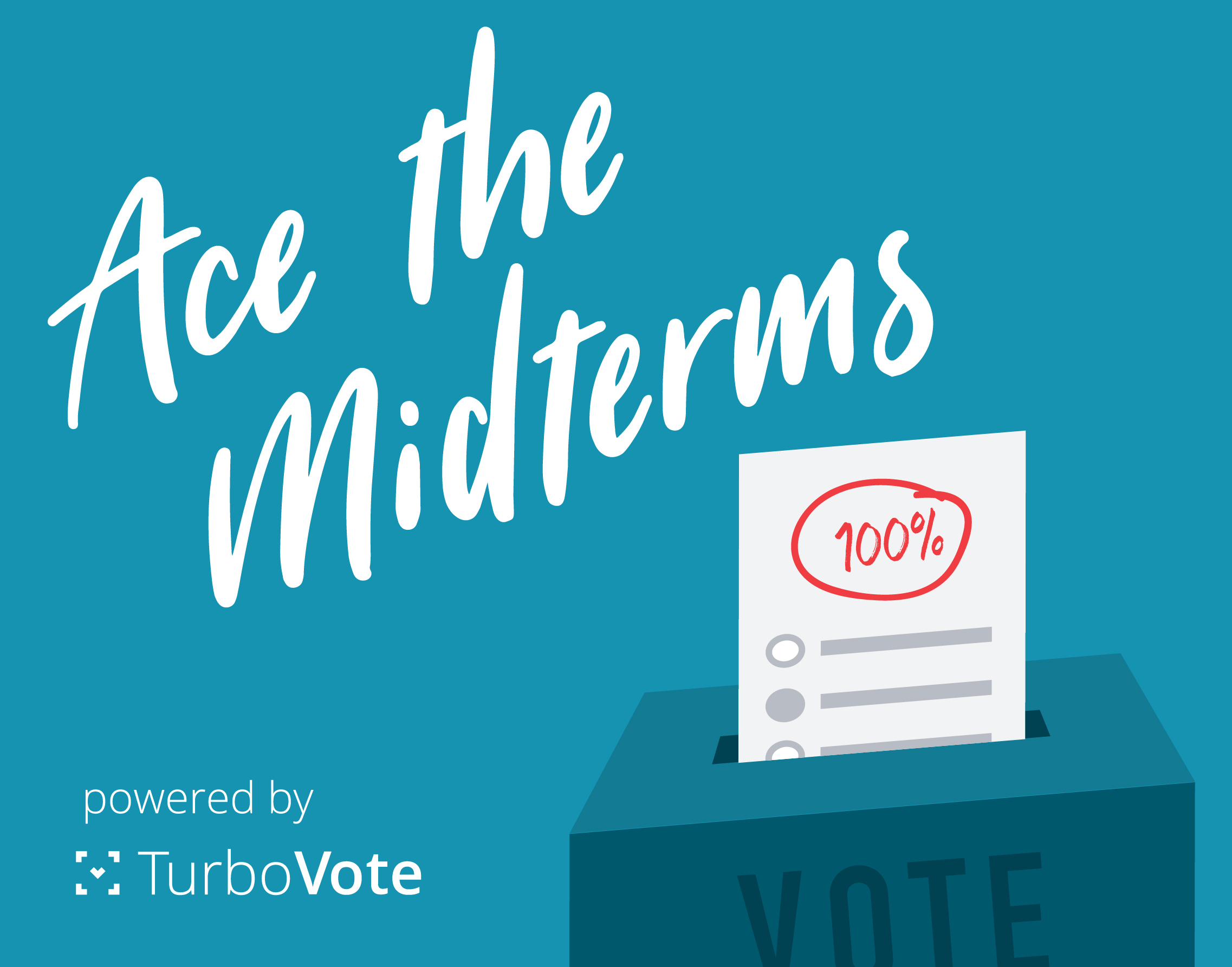 Blue Ace the Midterms powered by TurboVote logo.
