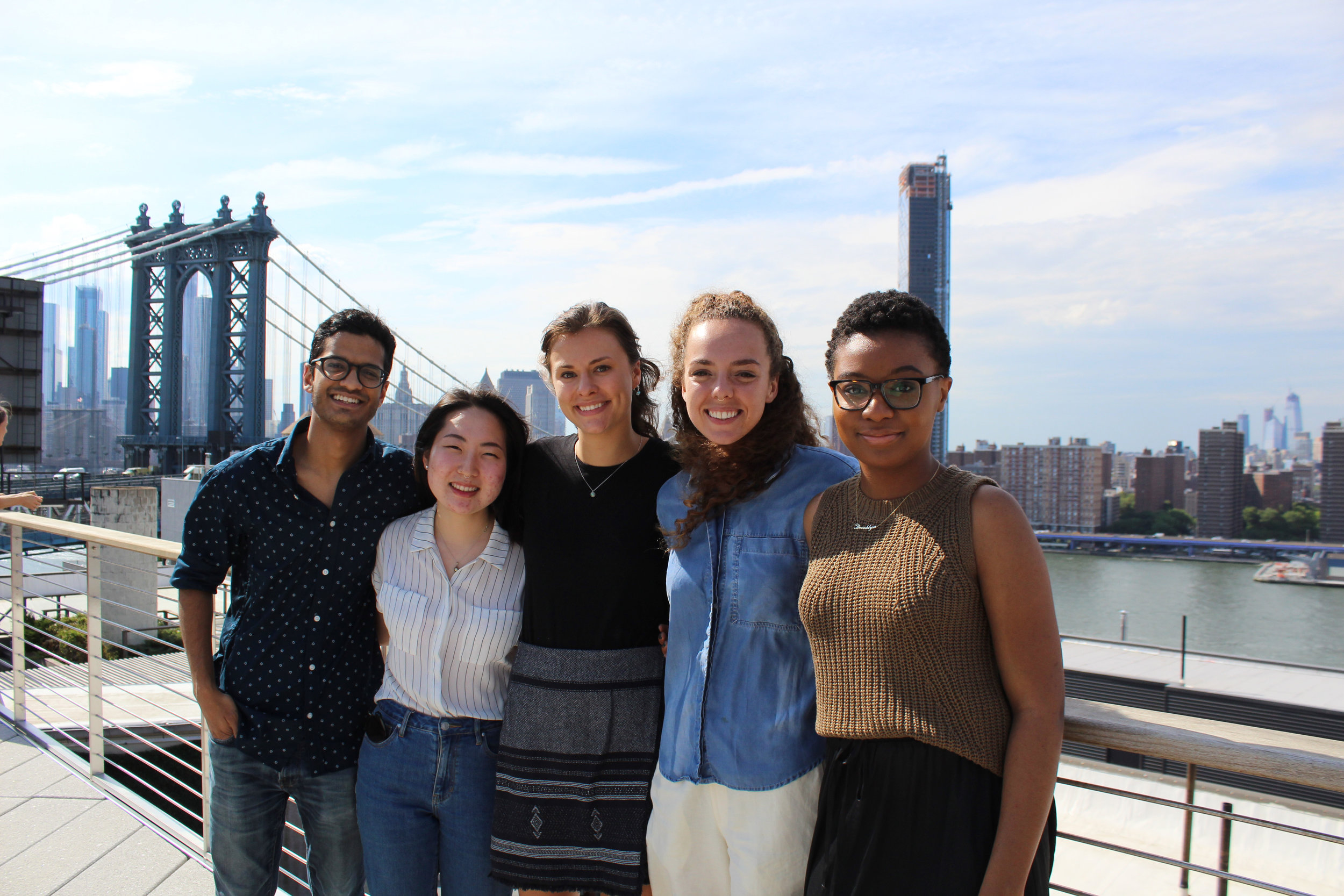 The 2018 TurboVote Summer Associates, from left to right: Jason, Jennifer, Andrea, Piper, and Thamara